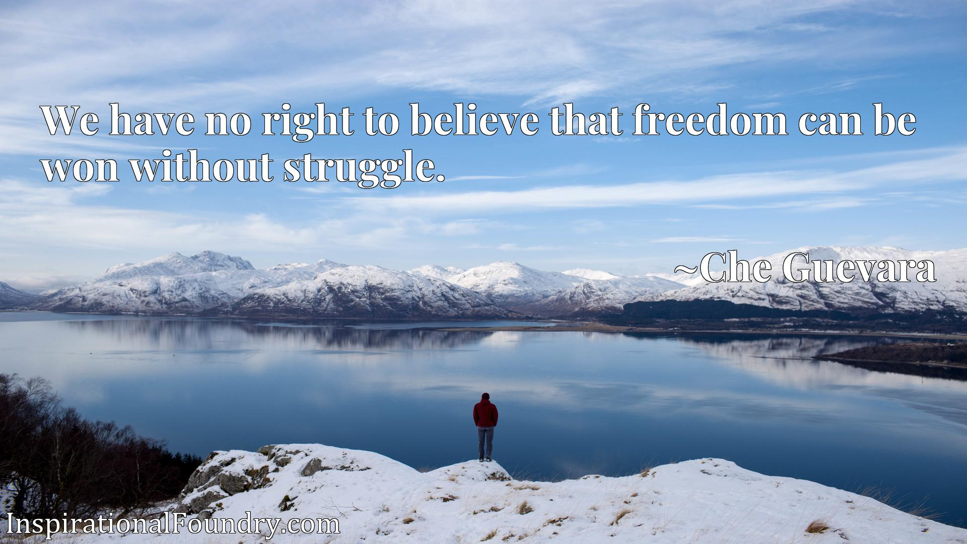 Quote Picture :We have no right to believe that freedom can be won without struggle.