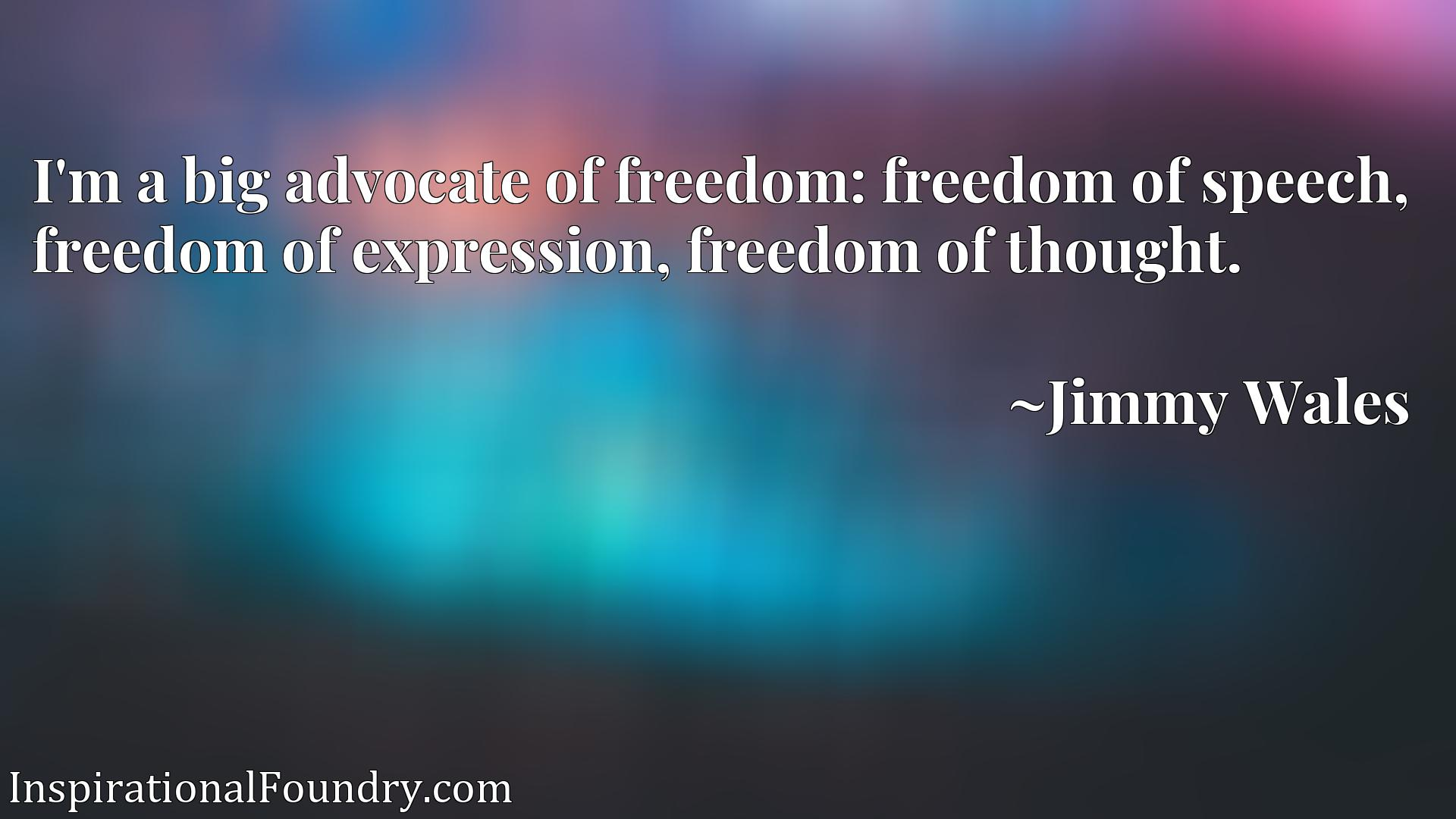 I'm a big advocate of freedom: freedom of speech, freedom of expression, freedom of thought.