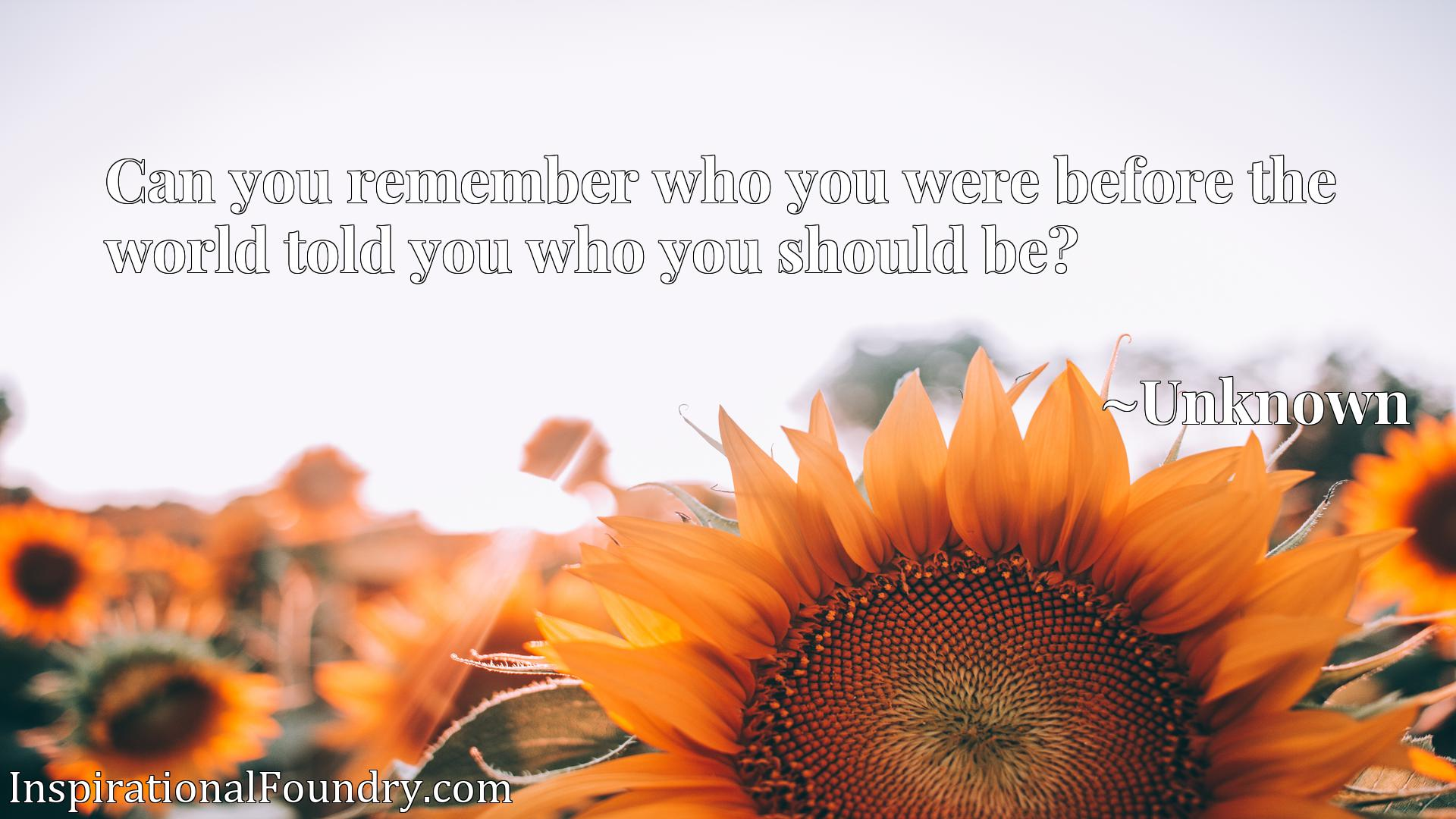 Quote Picture :Can you remember who you were before the world told you who you should be?