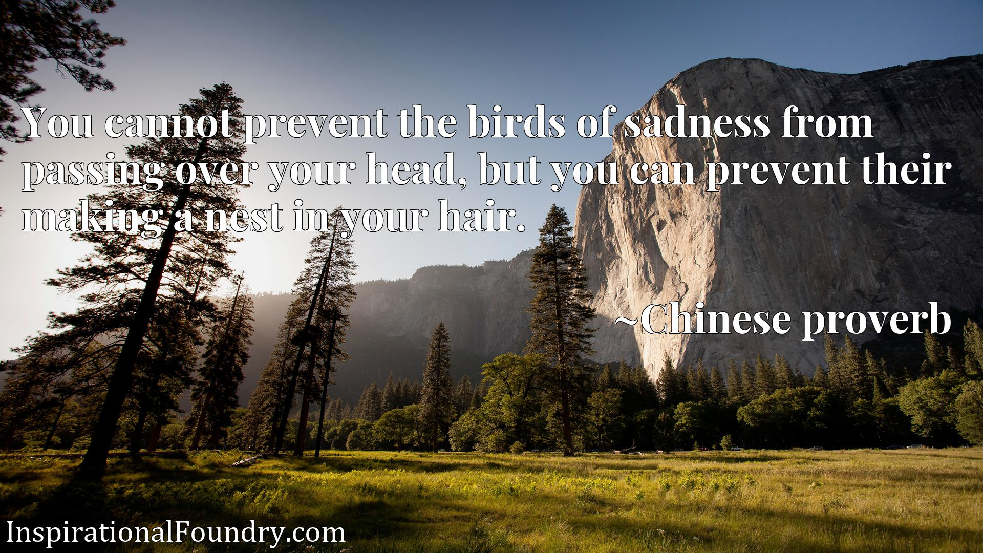 You cannot prevent the birds of sadness from passing over your head, but you can prevent their making a nest in your hair.