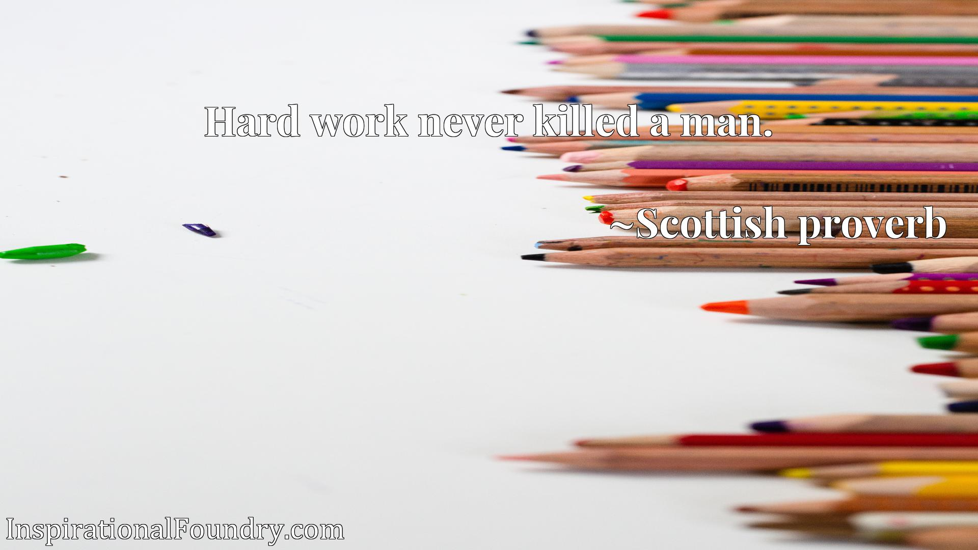 Quote Picture :Hard work never killed a man.