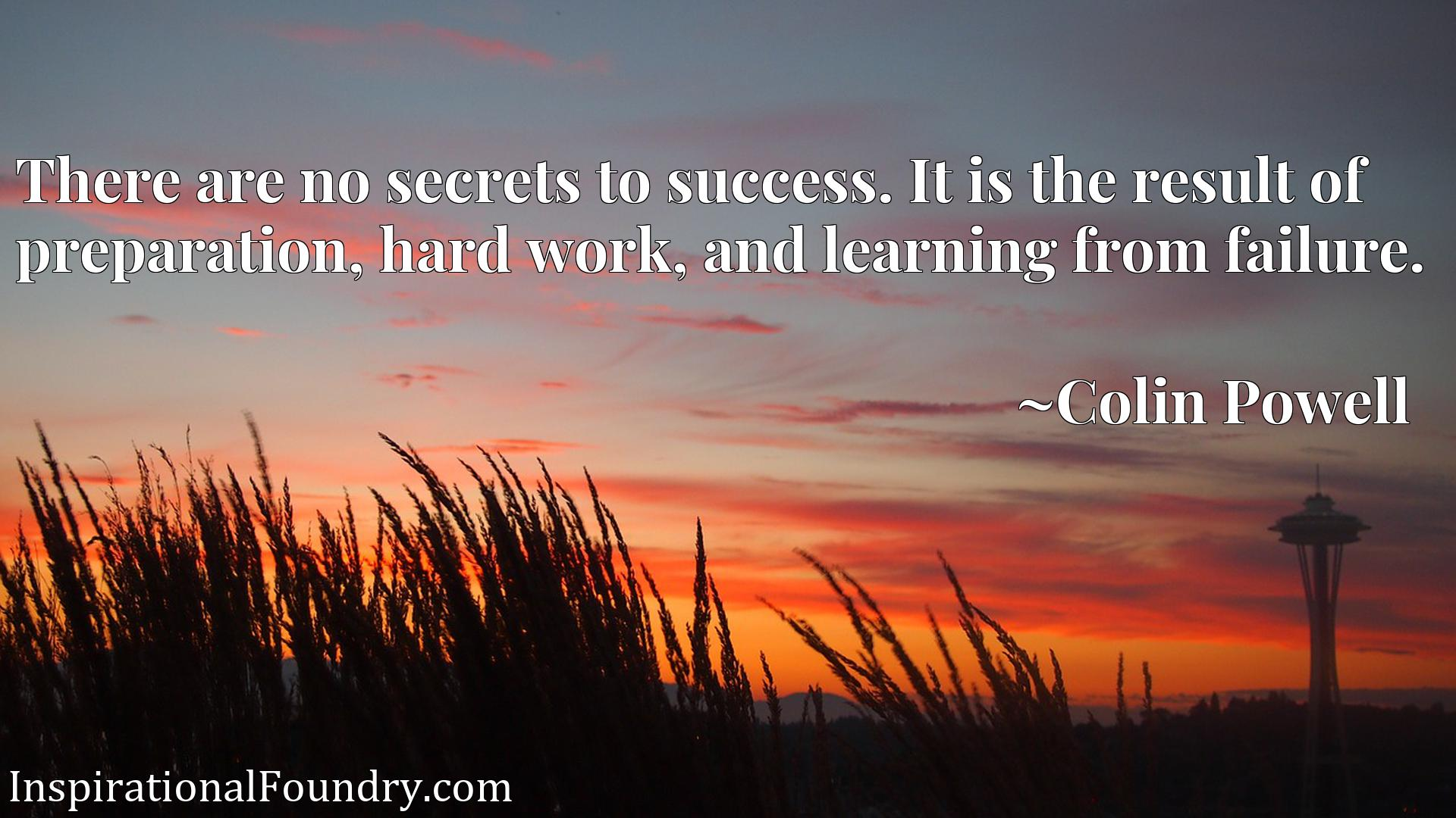 Quote Picture :There are no secrets to success. It is the result of preparation, hard work, and learning from failure.