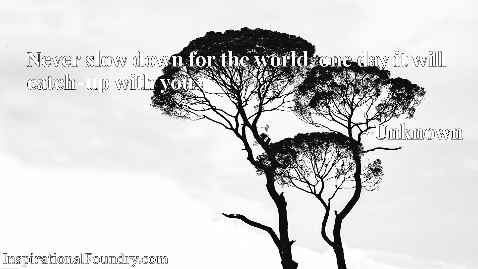 Quote Picture :Never slow down for the world, one day it will catch-up with you.