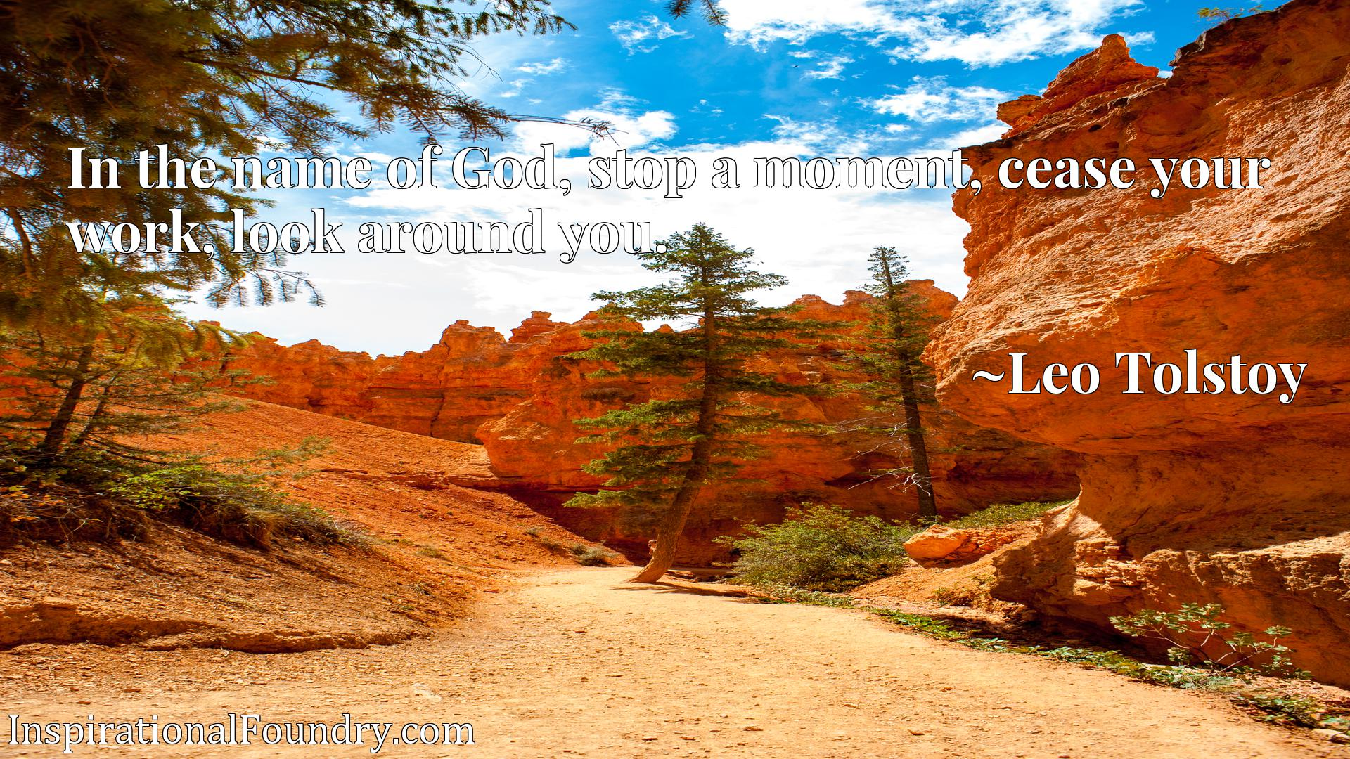 Quote Picture :In the name of God, stop a moment, cease your work, look around you.