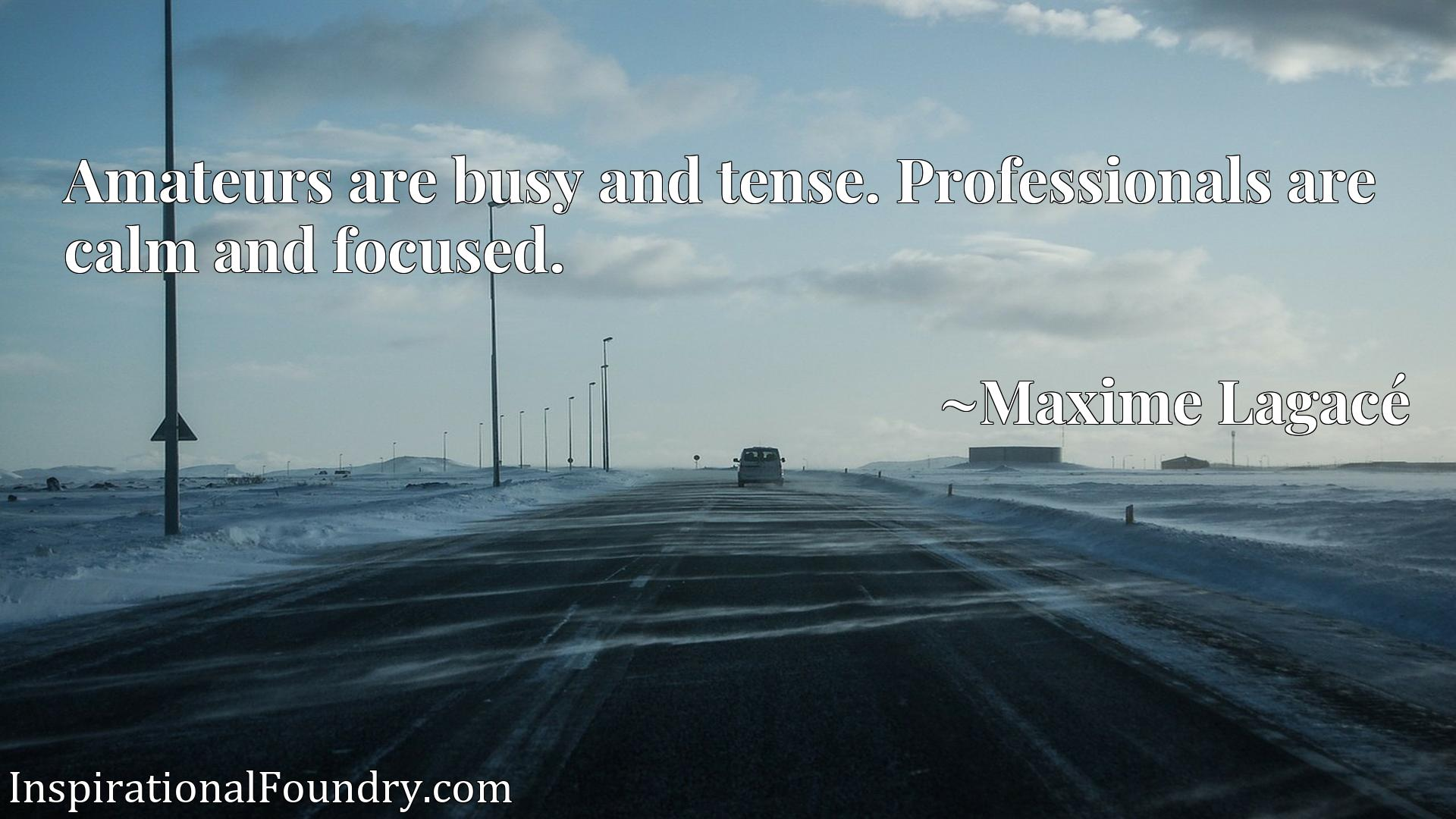 Quote Picture :Amateurs are busy and tense. Professionals are calm and focused.