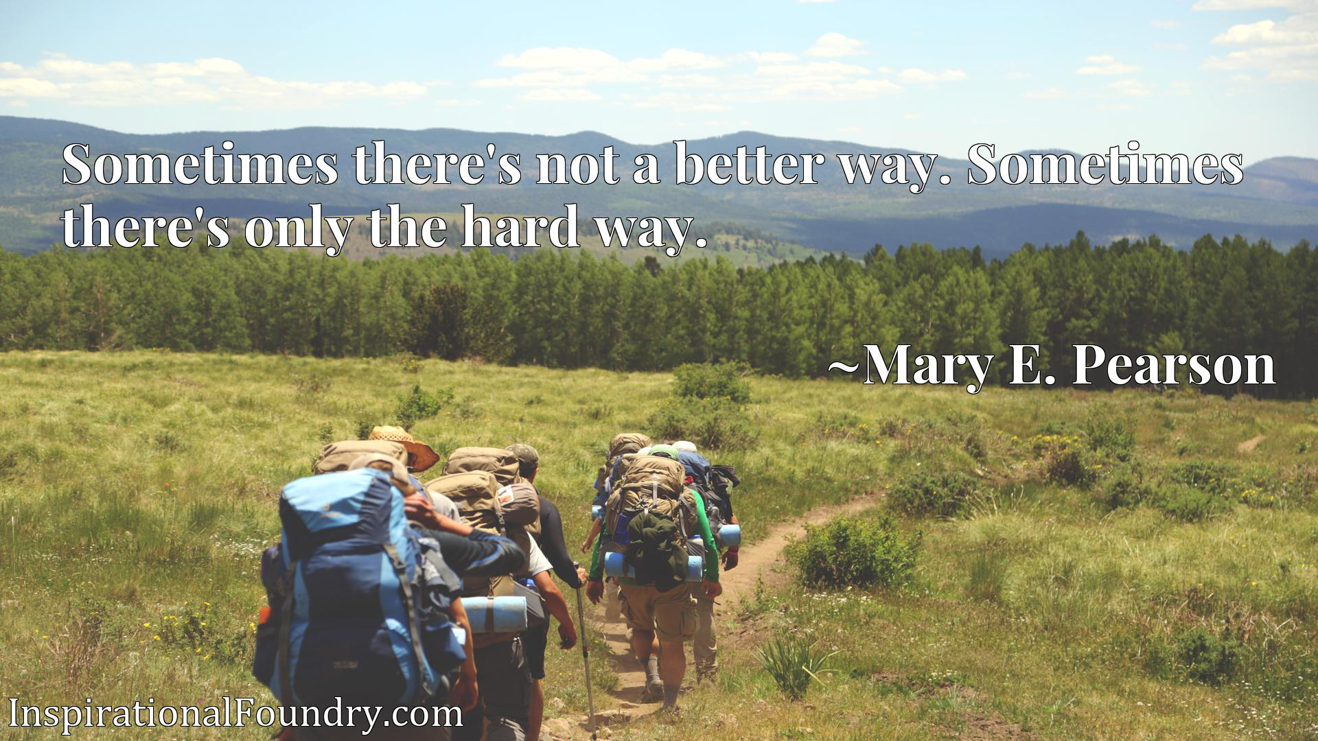 Quote Picture :Sometimes there's not a better way. Sometimes there's only the hard way.