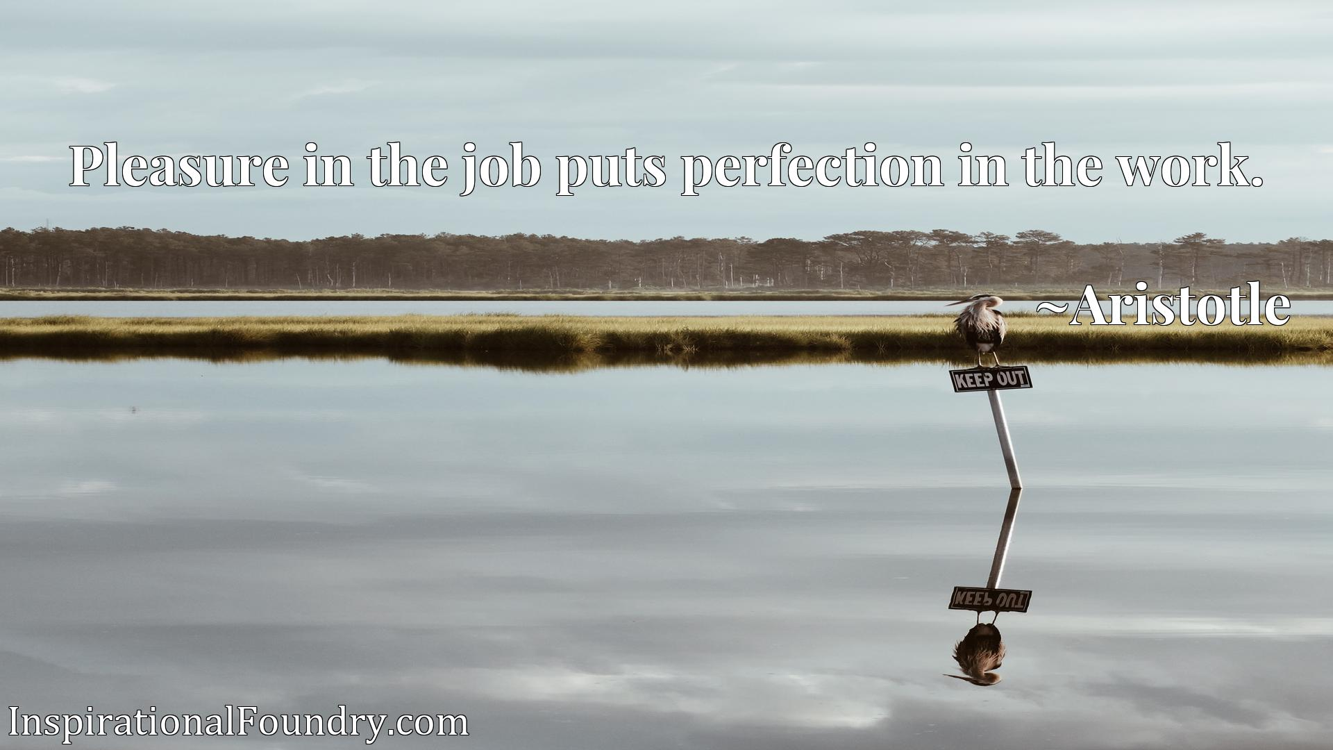 Quote Picture :Pleasure in the job puts perfection in the work.