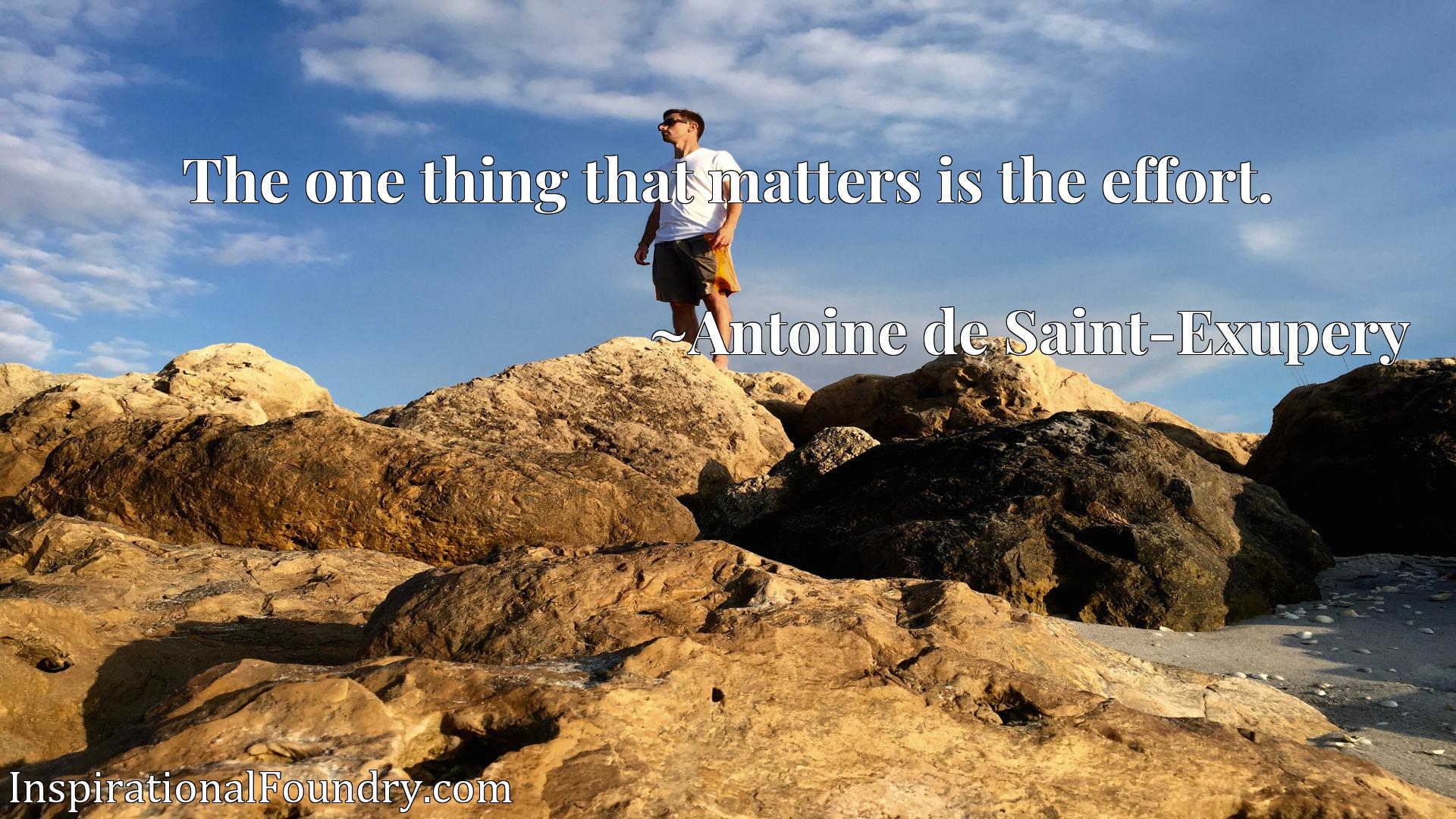 Quote Picture :The one thing that matters is the effort.