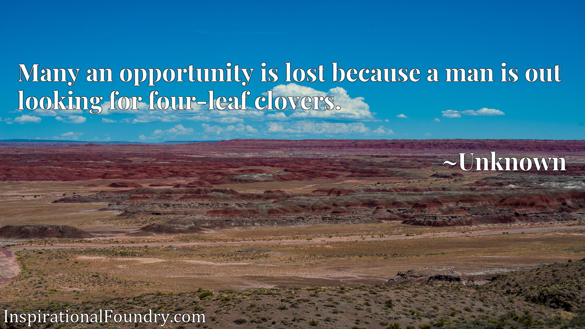 Quote Picture :Many an opportunity is lost because a man is out looking for four-leaf clovers.