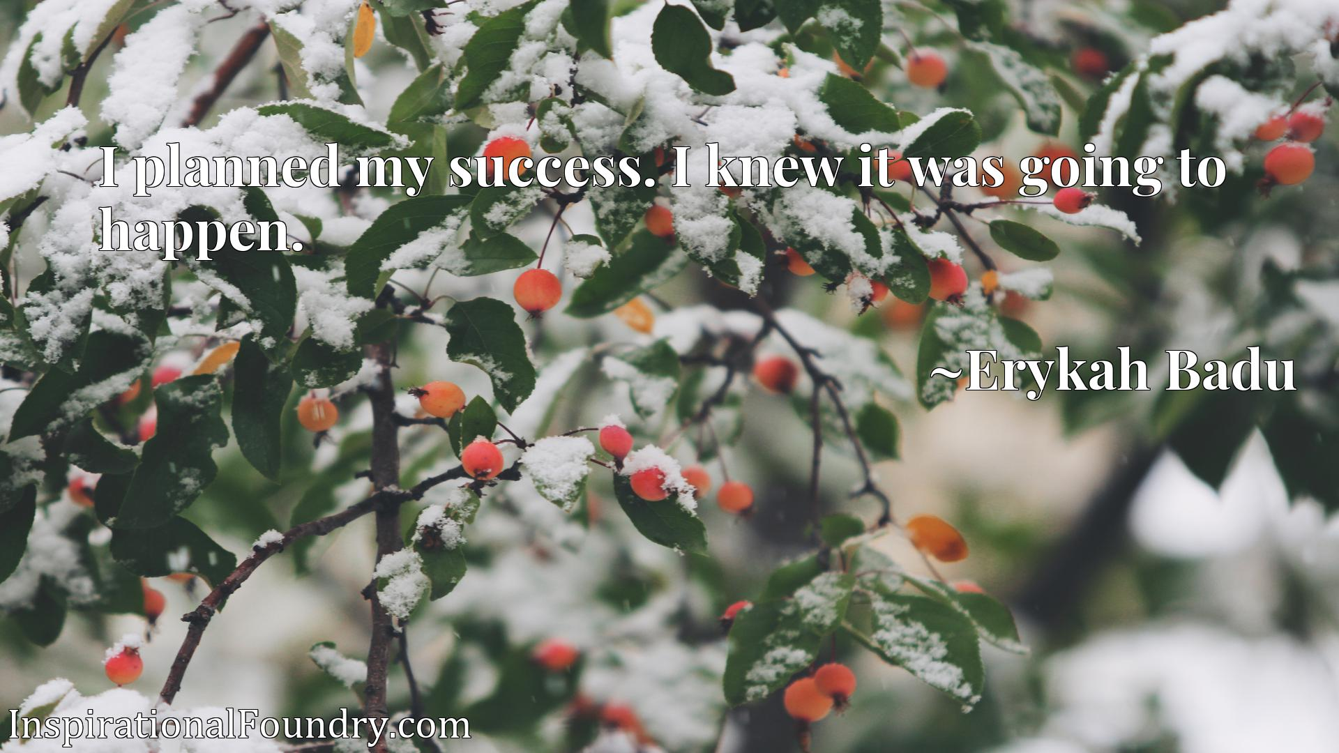 Quote Picture :I planned my success. I knew it was going to happen.