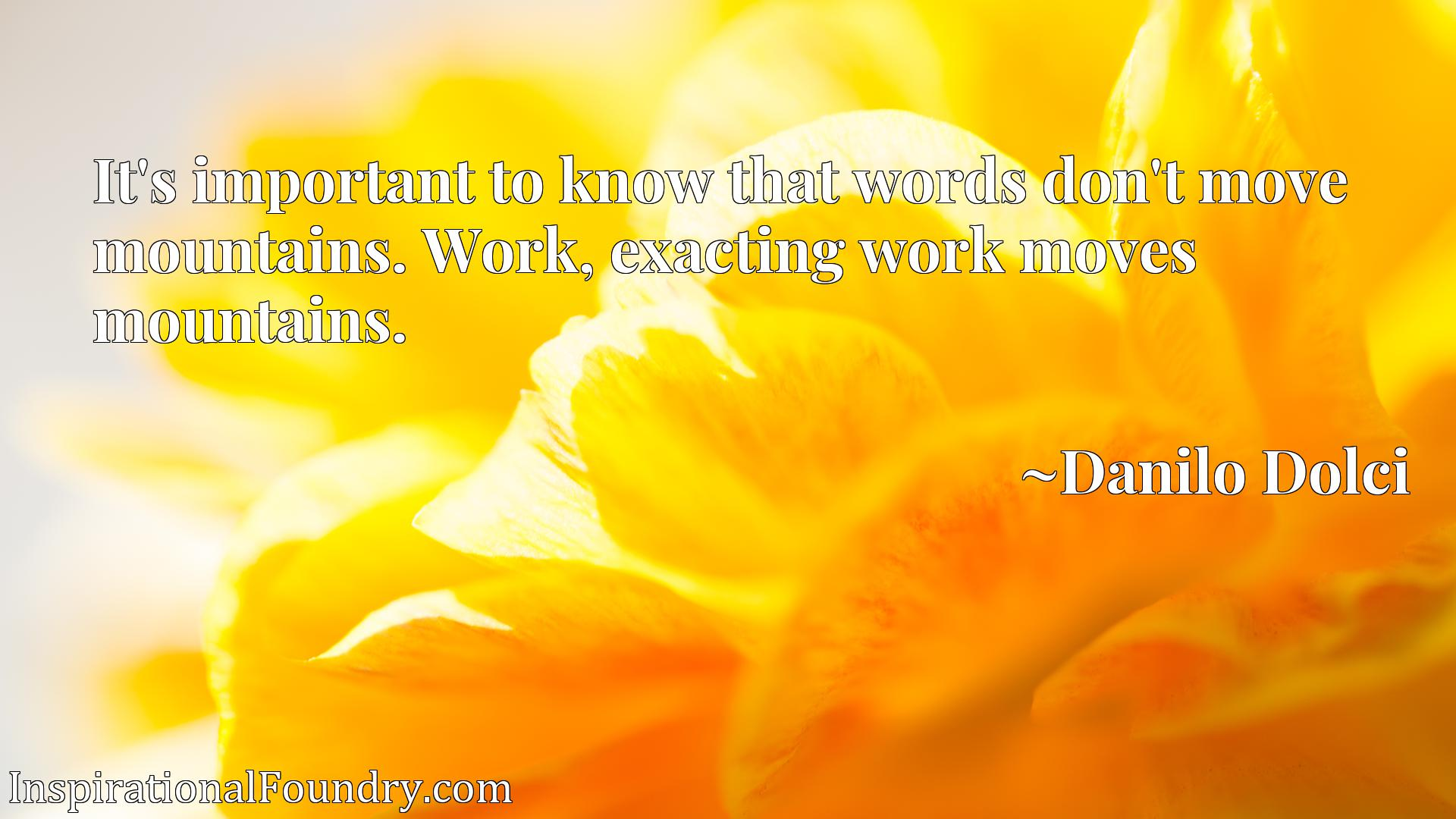Quote Picture :It's important to know that words don't move mountains. Work, exacting work moves mountains.