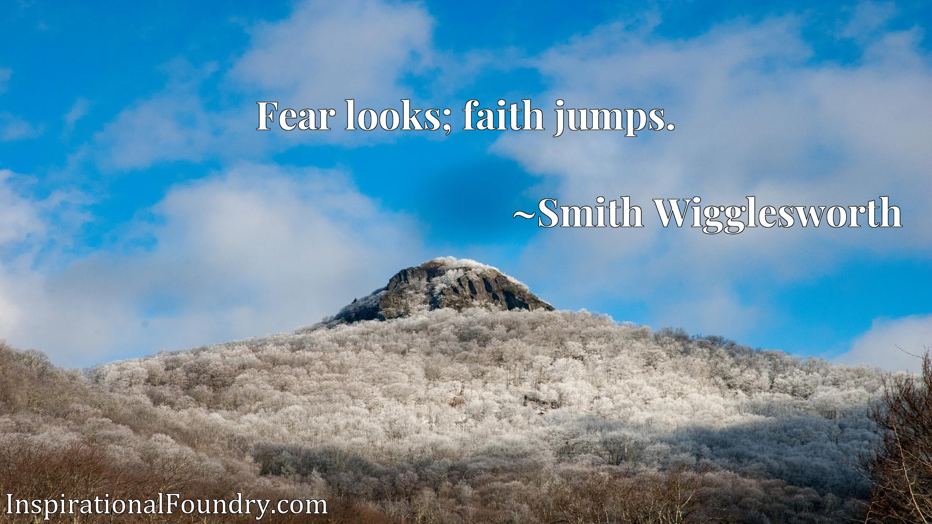 Quote Picture :Fear looks; faith jumps.