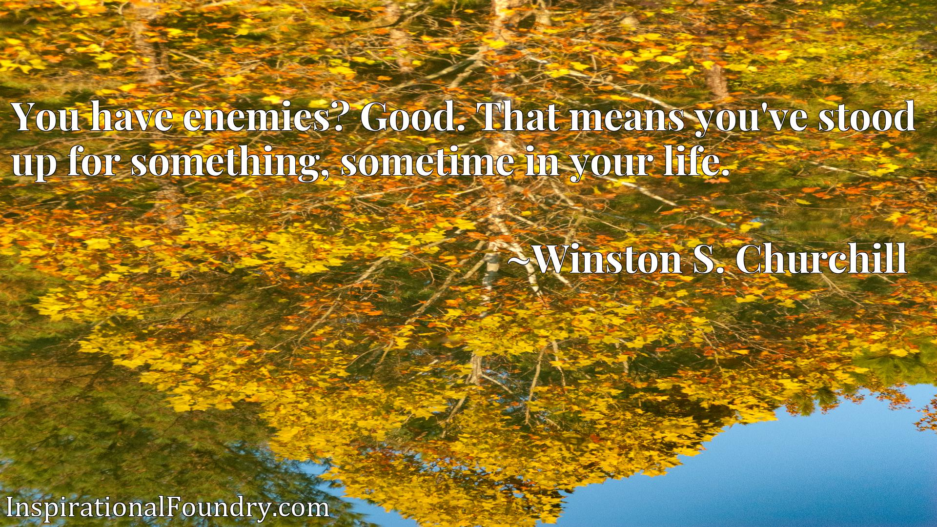 Quote Picture :You have enemies? Good. That means you've stood up for something, sometime in your life.