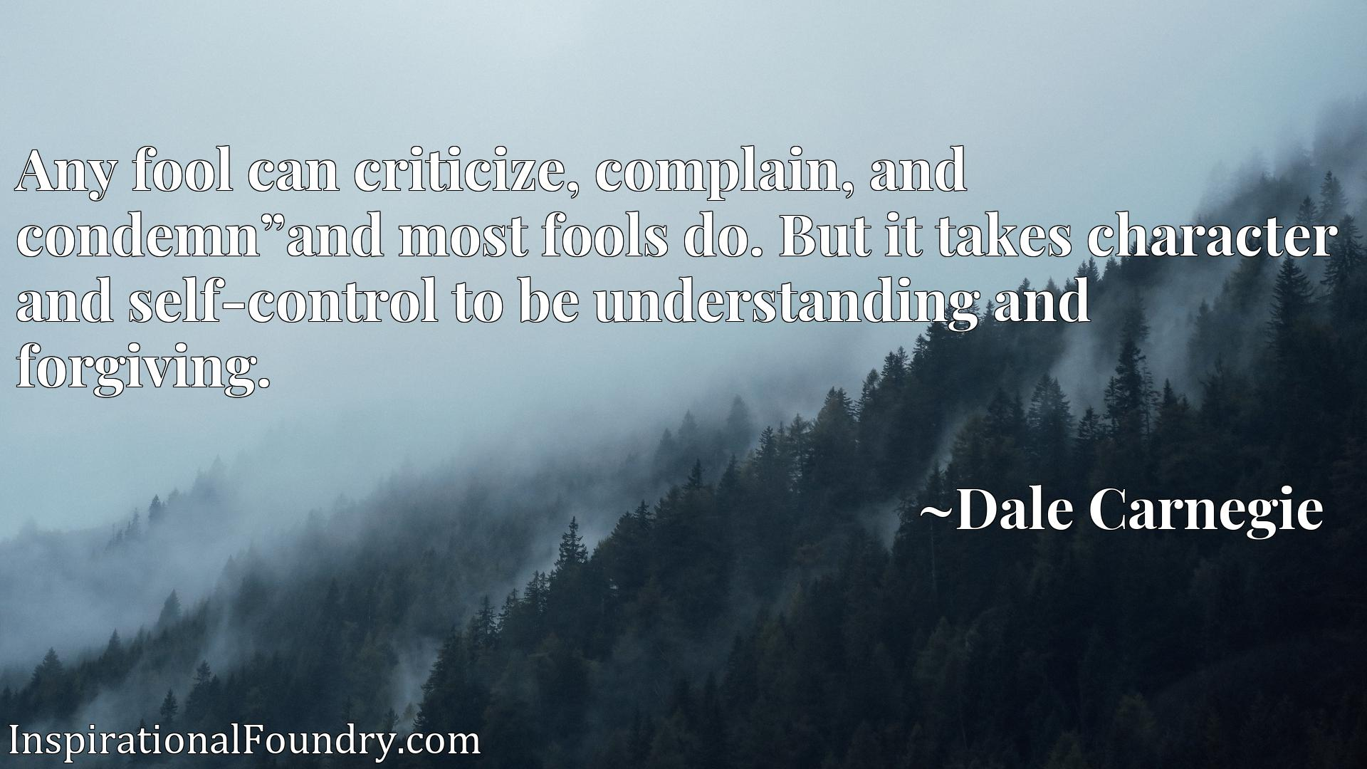 Quote Picture :Any fool can criticize, complain, and condemn