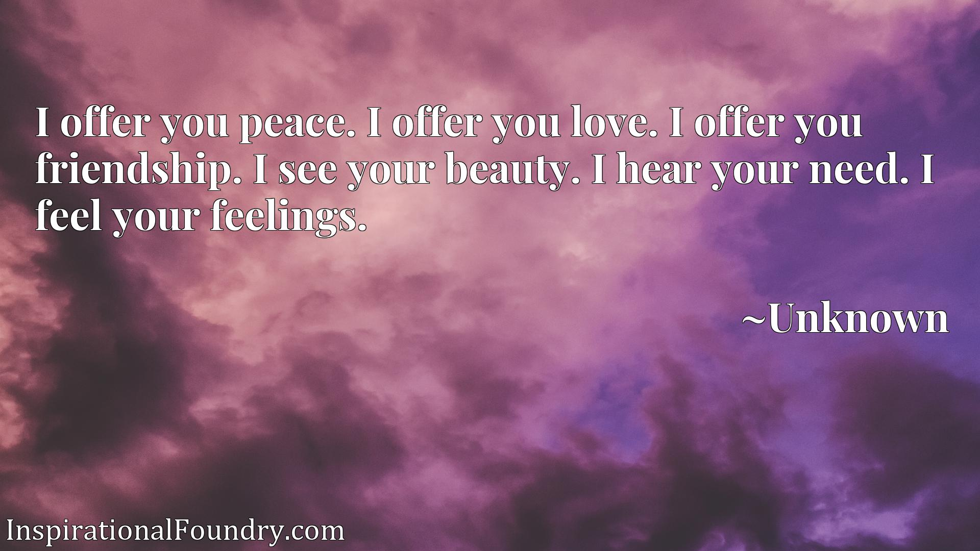 I offer you peace. I offer you love. I offer you friendship. I see your beauty. I hear your need. I feel your feelings.