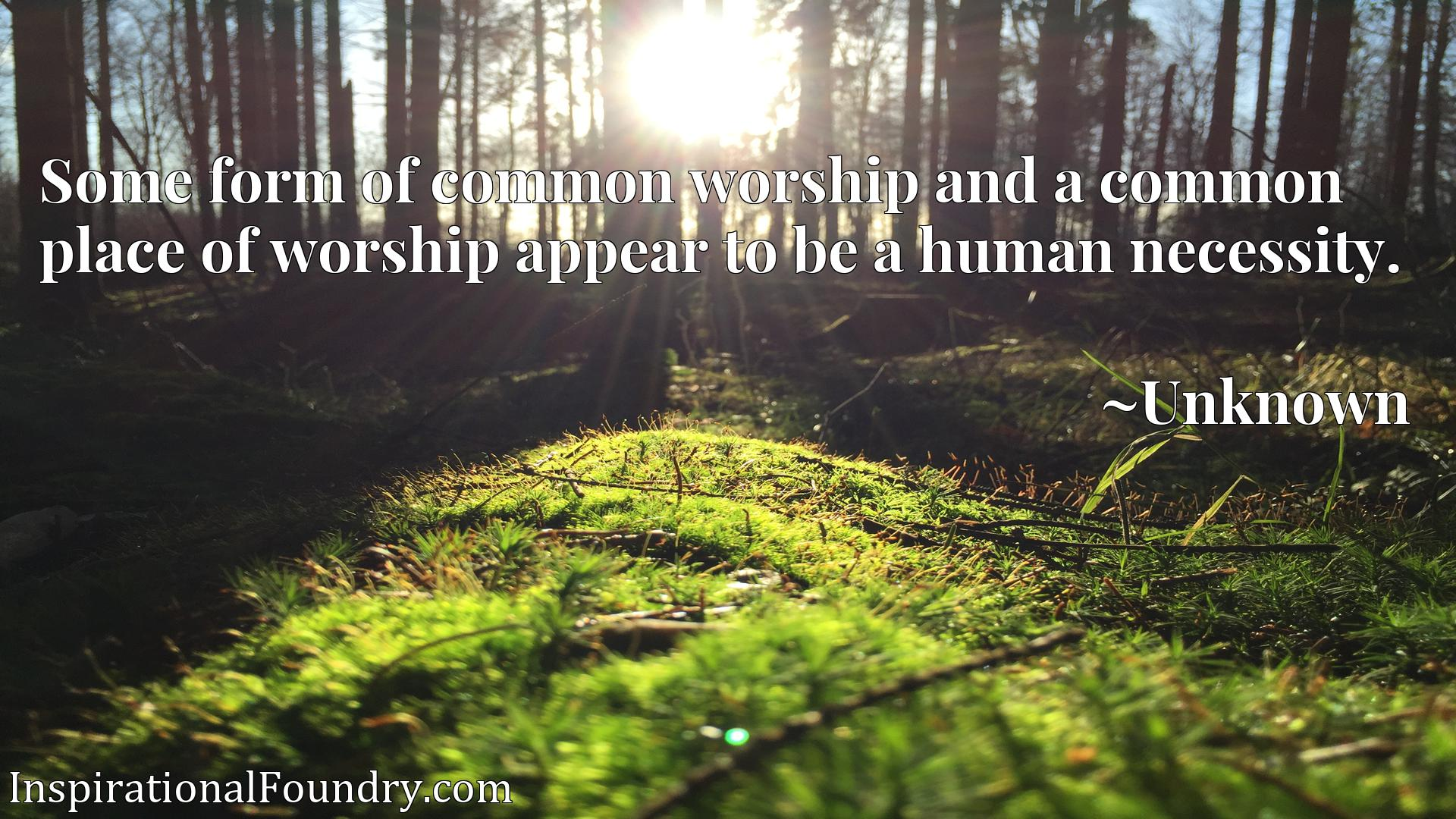 Some form of common worship and a common place of worship appear to be a human necessity.