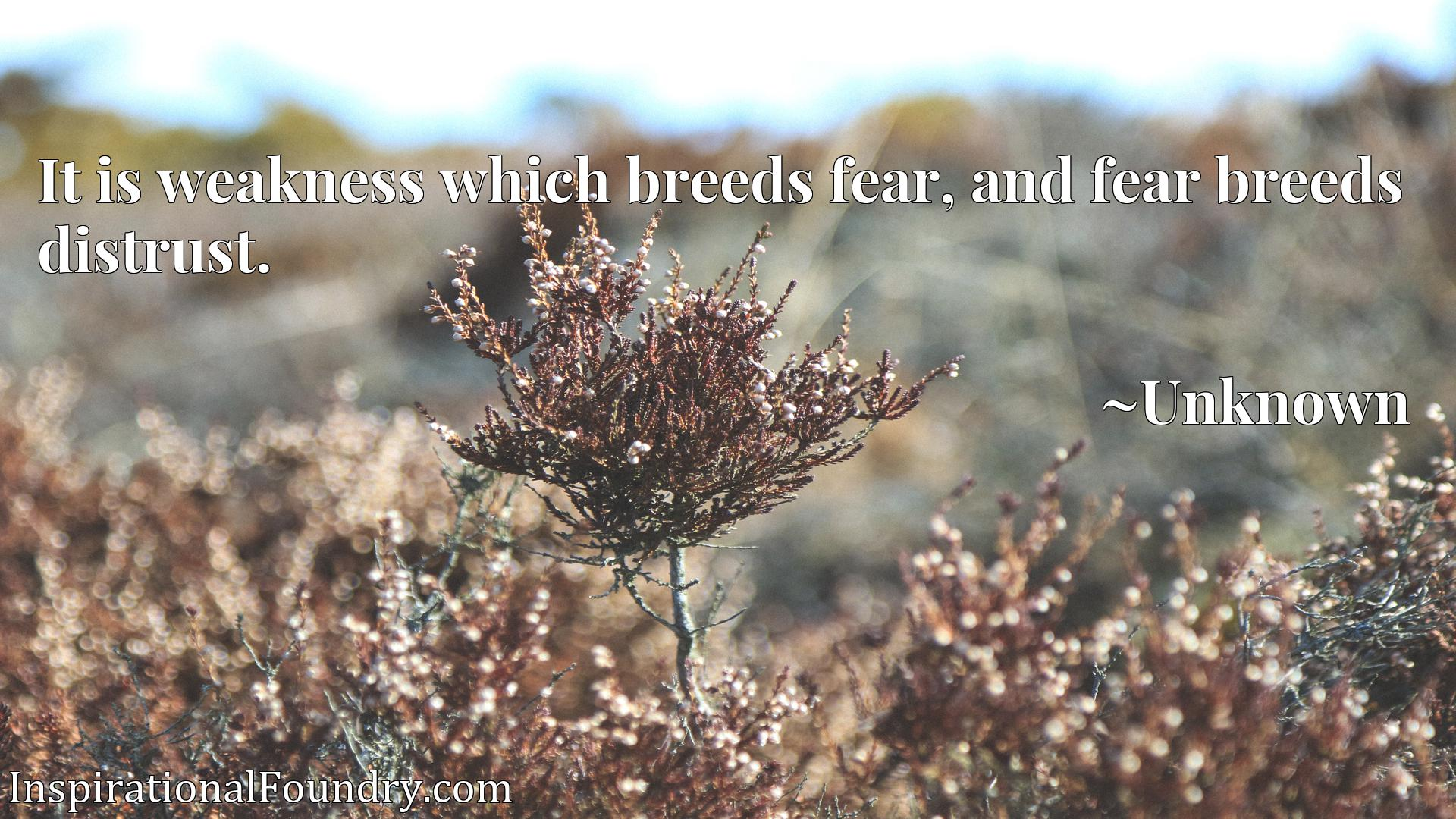 Quote Picture :It is weakness which breeds fear, and fear breeds distrust.