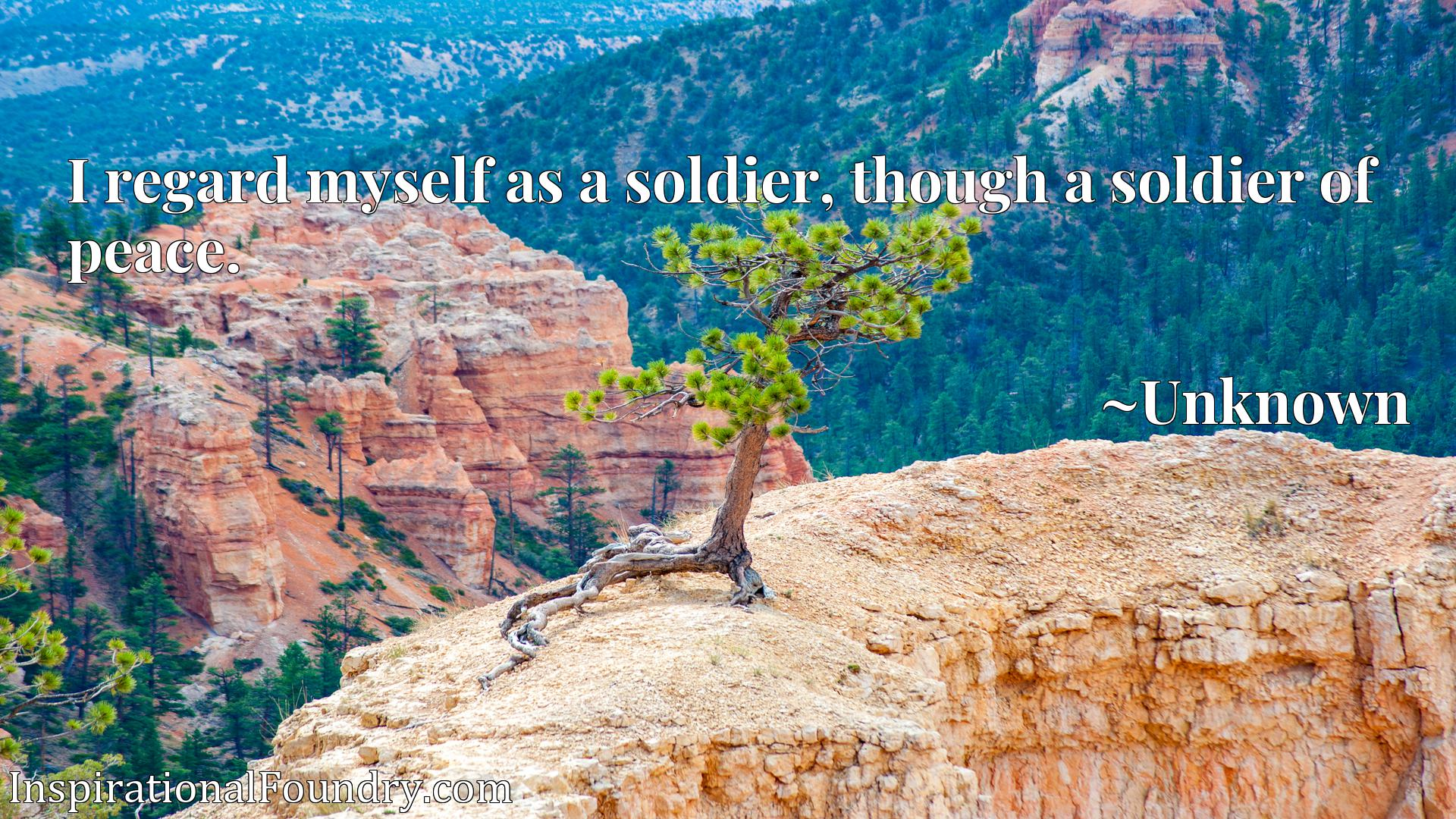 Quote Picture :I regard myself as a soldier, though a soldier of peace.