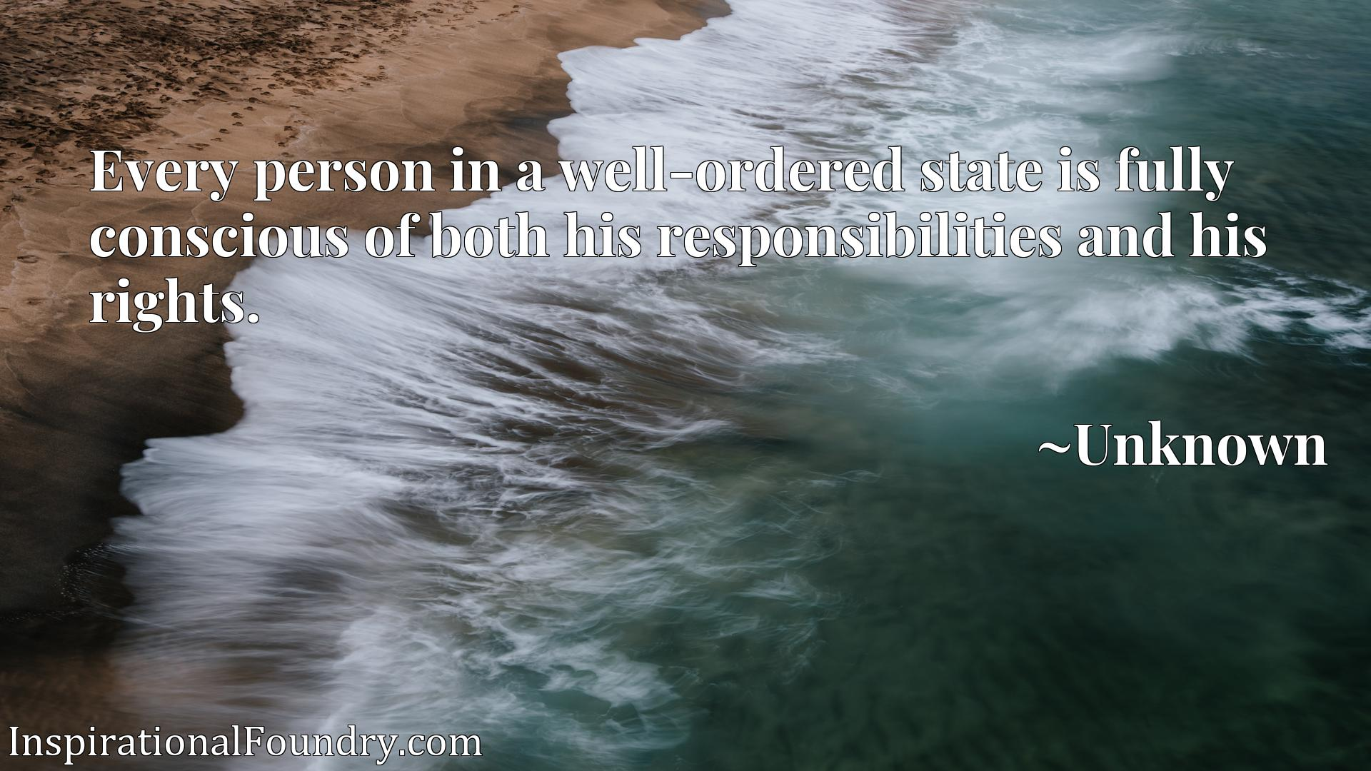 Quote Picture :Every person in a well-ordered state is fully conscious of both his responsibilities and his rights.