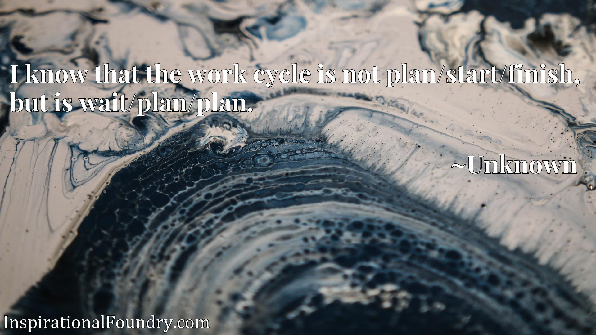 I know that the work cycle is not plan/start/finish, but is wait/plan/plan.