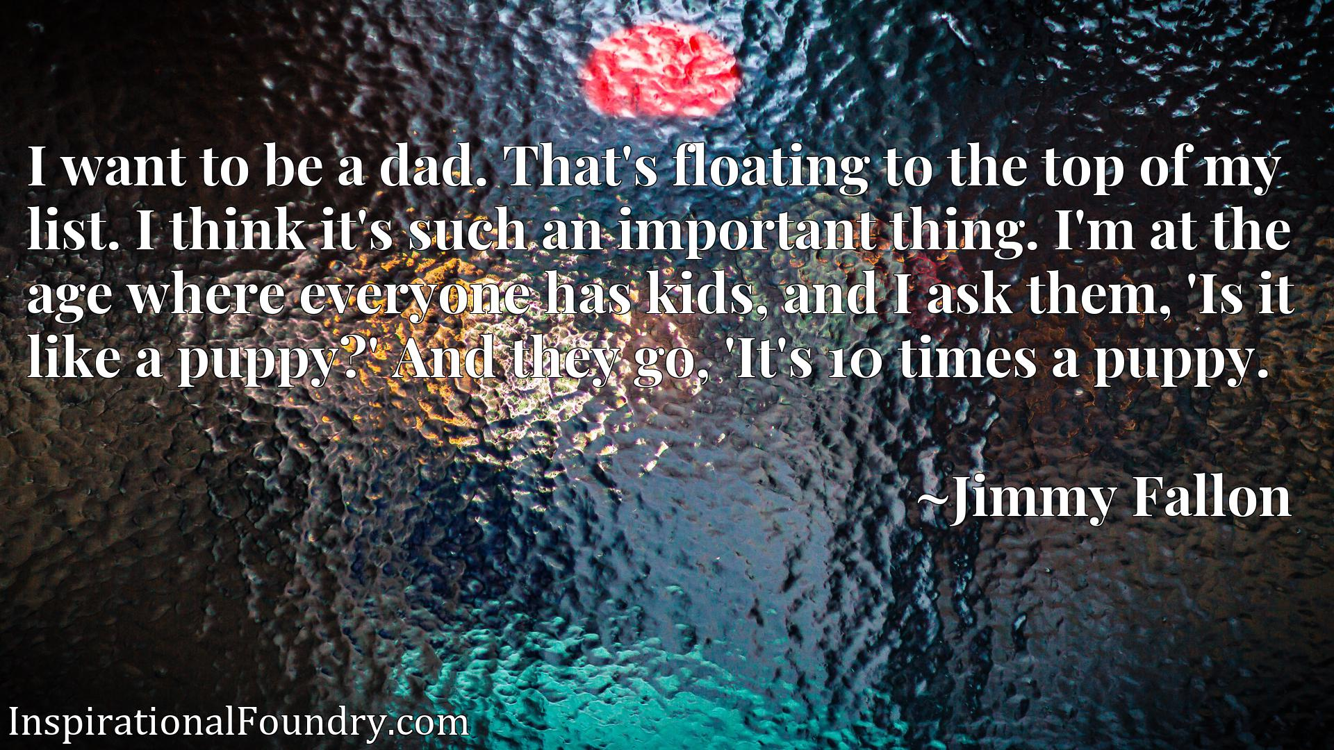 I want to be a dad. That's floating to the top of my list. I think it's such an important thing. I'm at the age where everyone has kids, and I ask them, 'Is it like a puppy?' And they go, 'It's 10 times a puppy.