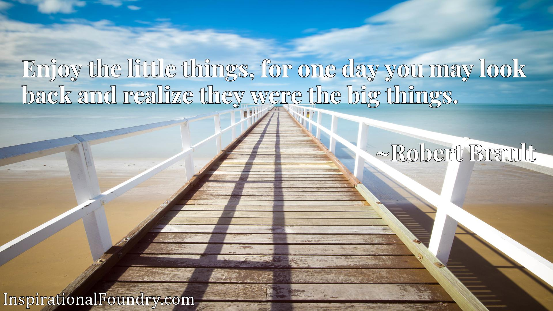 Quote Picture :Enjoy the little things, for one day you may look back and realize they were the big things.