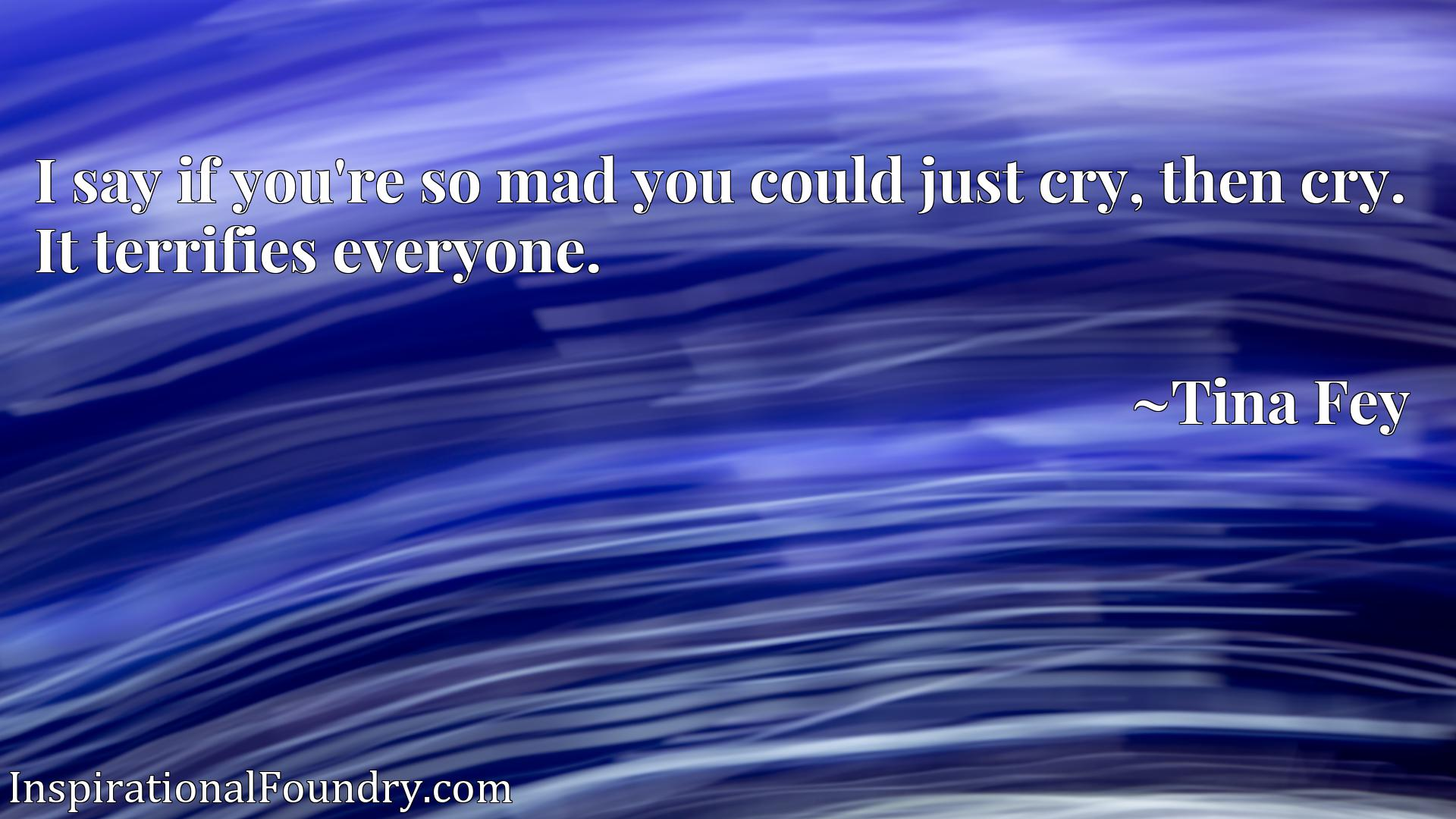 I say if you're so mad you could just cry, then cry. It terrifies everyone.