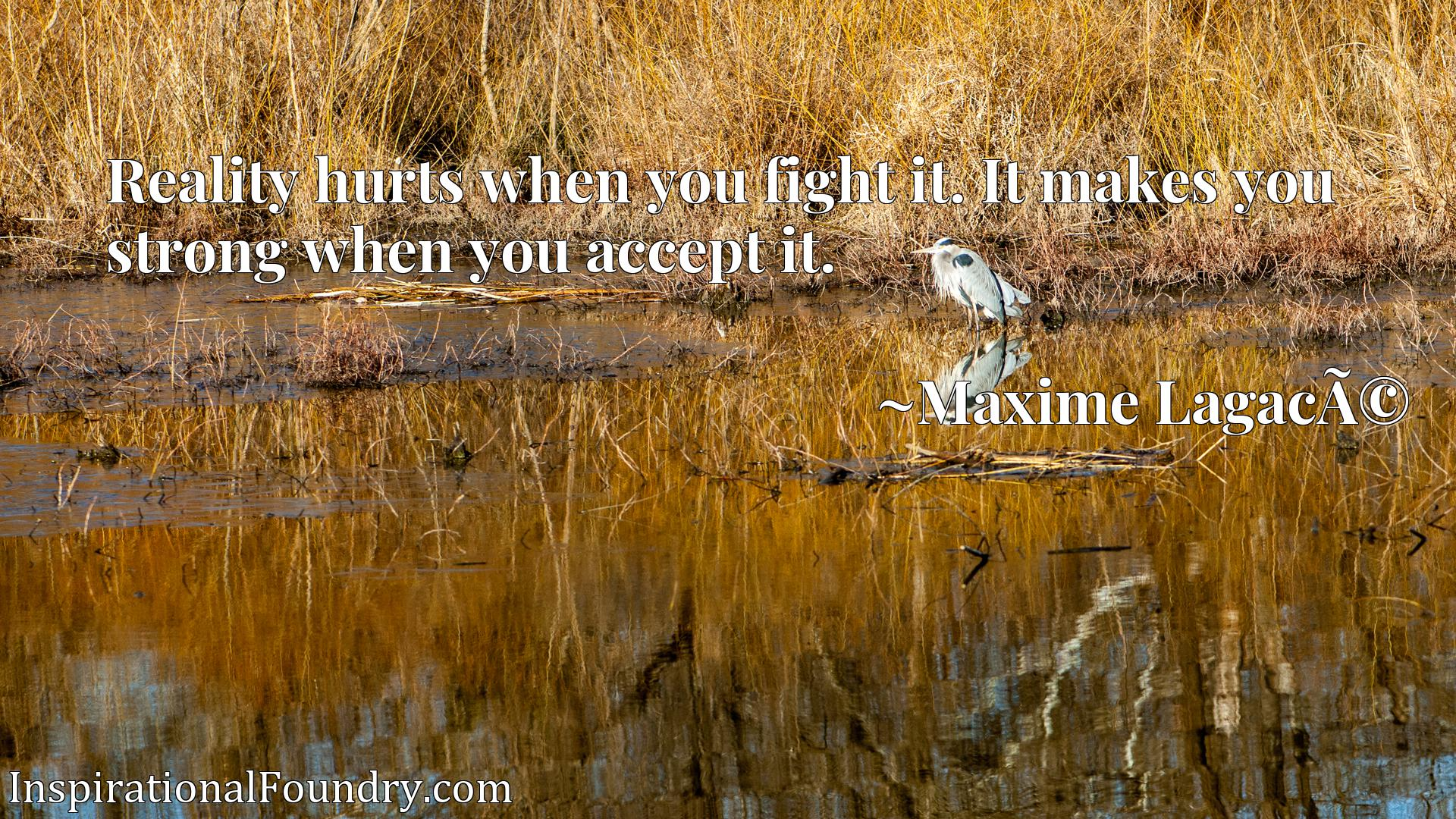 Reality hurts when you fight it. It makes you strong when you accept it.