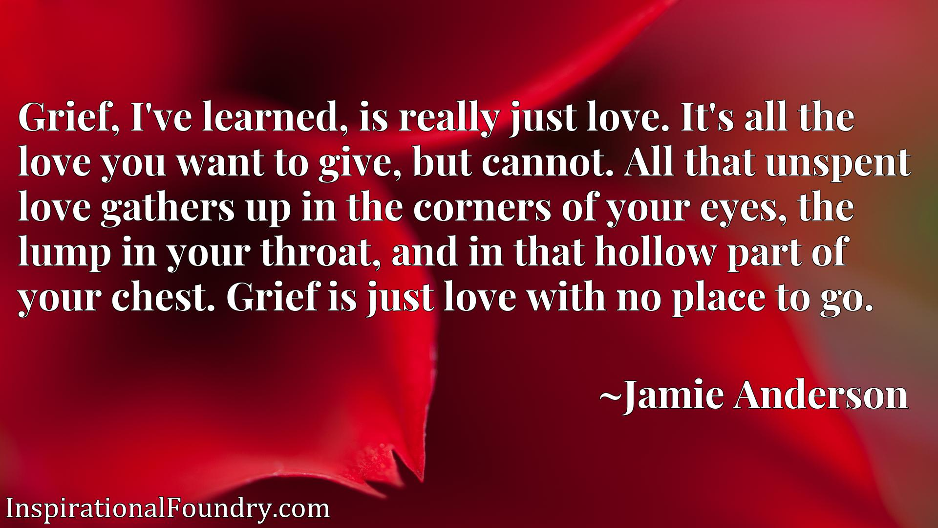 Grief, I've learned, is really just love. It's all the love you want to give, but cannot. All that unspent love gathers up in the corners of your eyes, the lump in your throat, and in that hollow part of your chest. Grief is just love with no place to go.