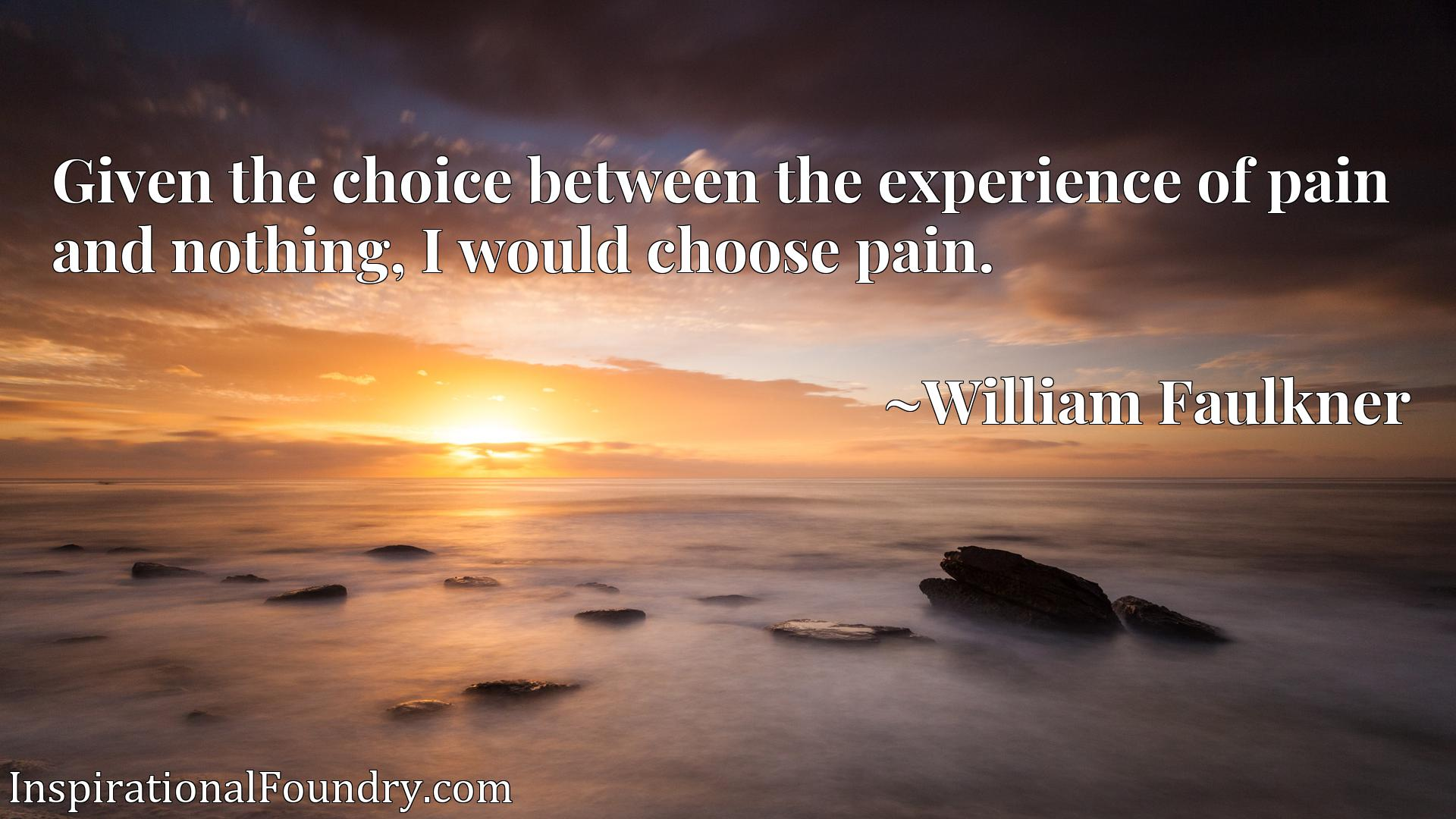Given the choice between the experience of pain and nothing, I would choose pain.