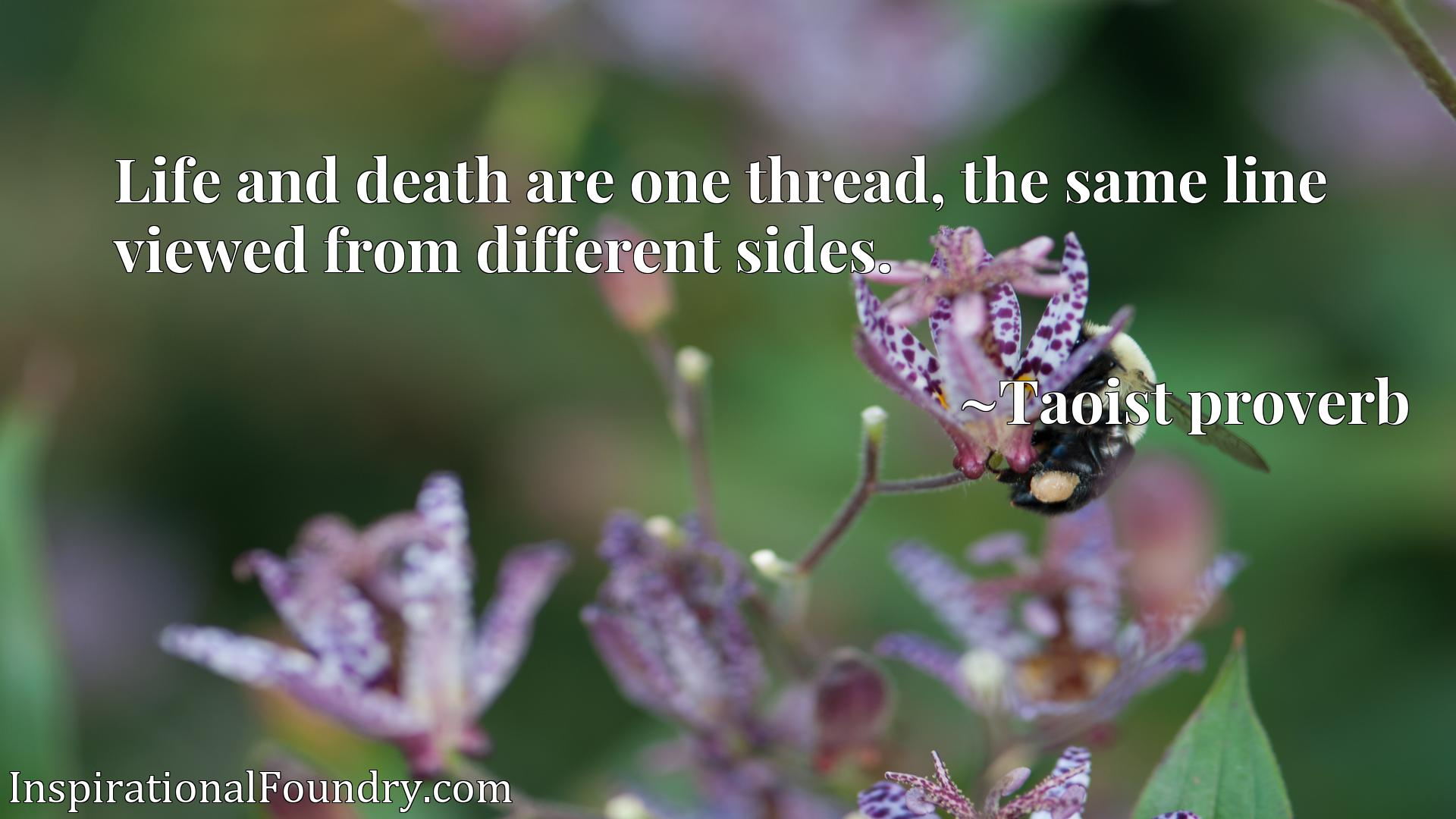 Life and death are one thread, the same line viewed from different sides.