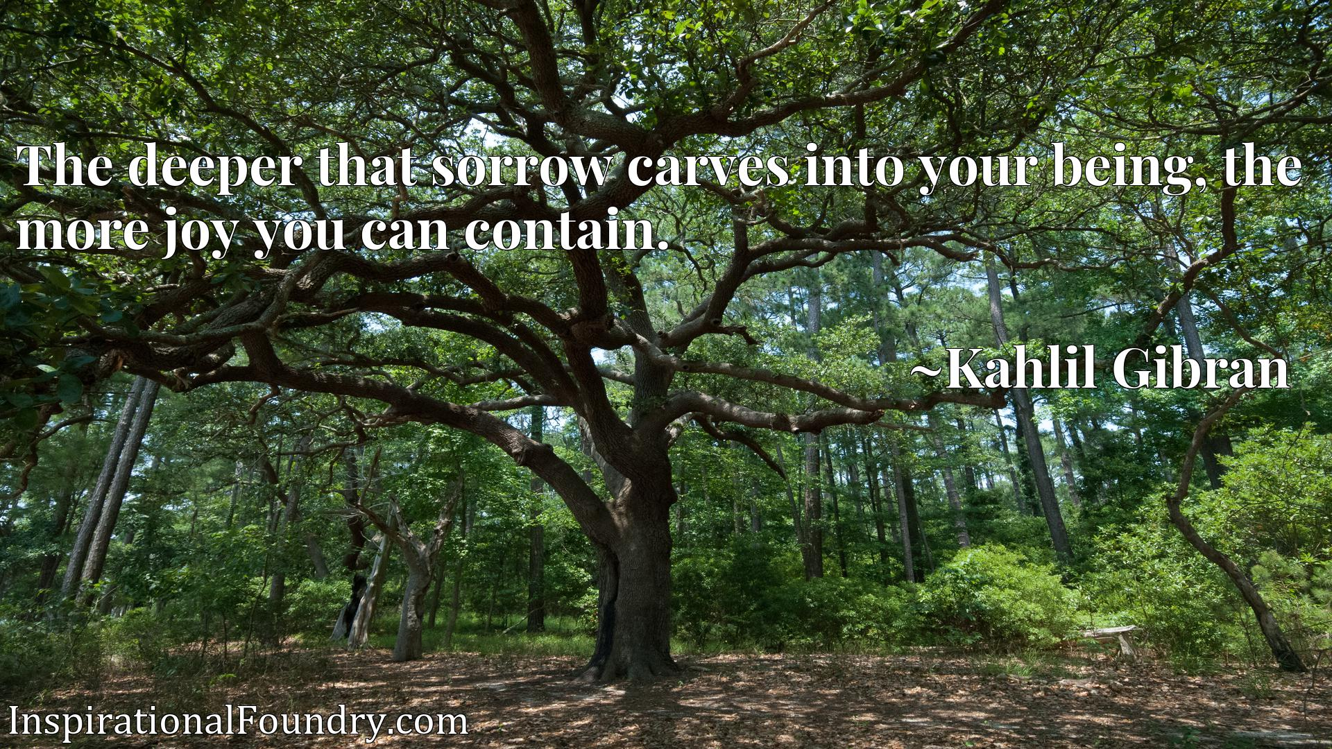The deeper that sorrow carves into your being, the more joy you can contain.
