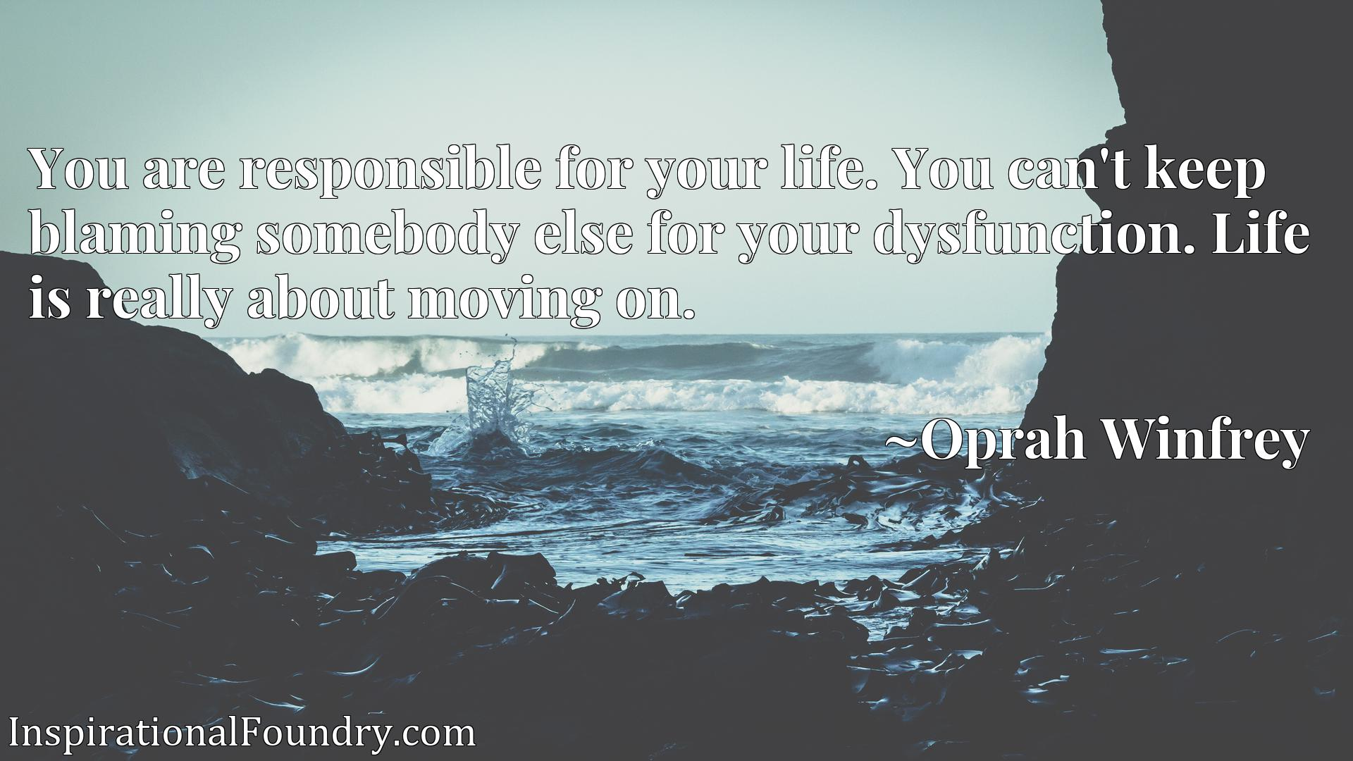 Quote Picture :You are responsible for your life. You can't keep blaming somebody else for your dysfunction. Life is really about moving on.