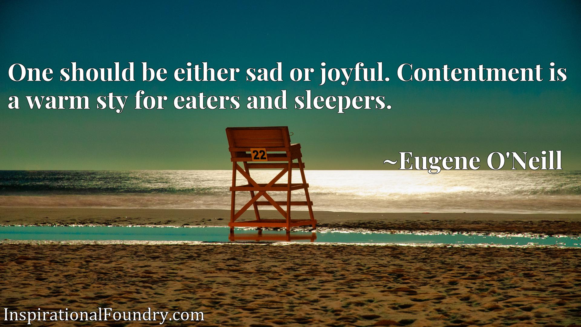 Quote Picture :One should be either sad or joyful. Contentment is a warm sty for eaters and sleepers.