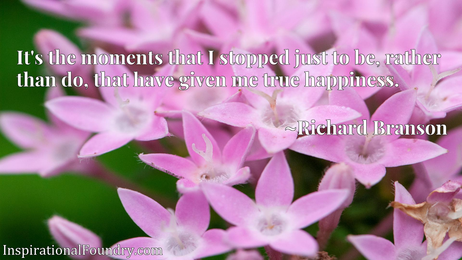 Quote Picture :It's the moments that I stopped just to be, rather than do, that have given me true happiness.
