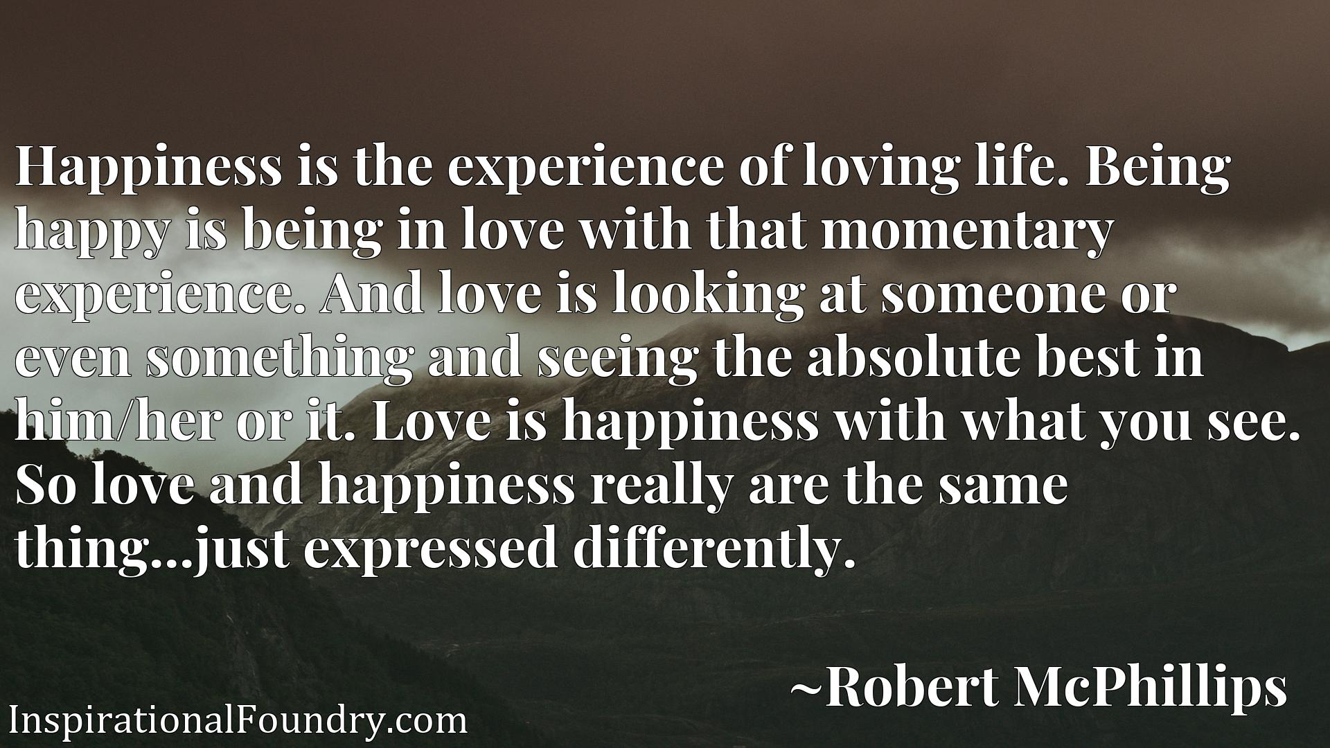Happiness is the experience of loving life. Being happy is being in love with that momentary experience. And love is looking at someone or even something and seeing the absolute best in him/her or it. Love is happiness with what you see. So love and happiness really are the same thing...just expressed differently.