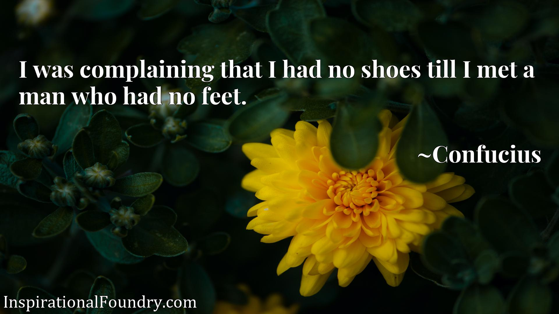 I was complaining that I had no shoes till I met a man who had no feet.