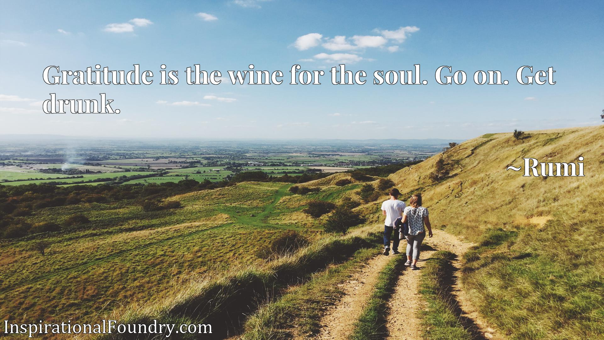 Gratitude is the wine for the soul. Go on. Get drunk.