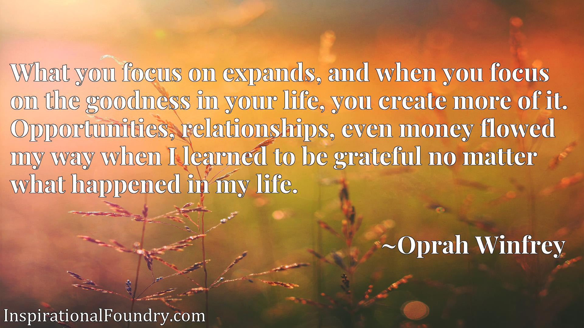 What you focus on expands, and when you focus on the goodness in your life, you create more of it. Opportunities, relationships, even money flowed my way when I learned to be grateful no matter what happened in my life.