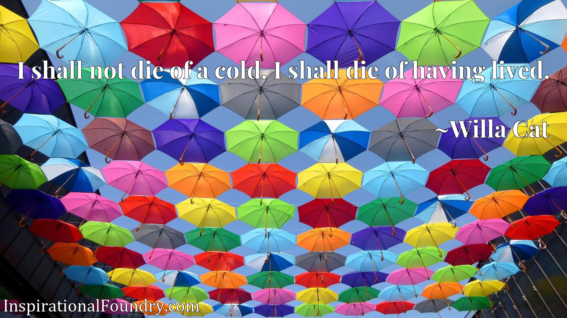 I shall not die of a cold. I shall die of having lived.