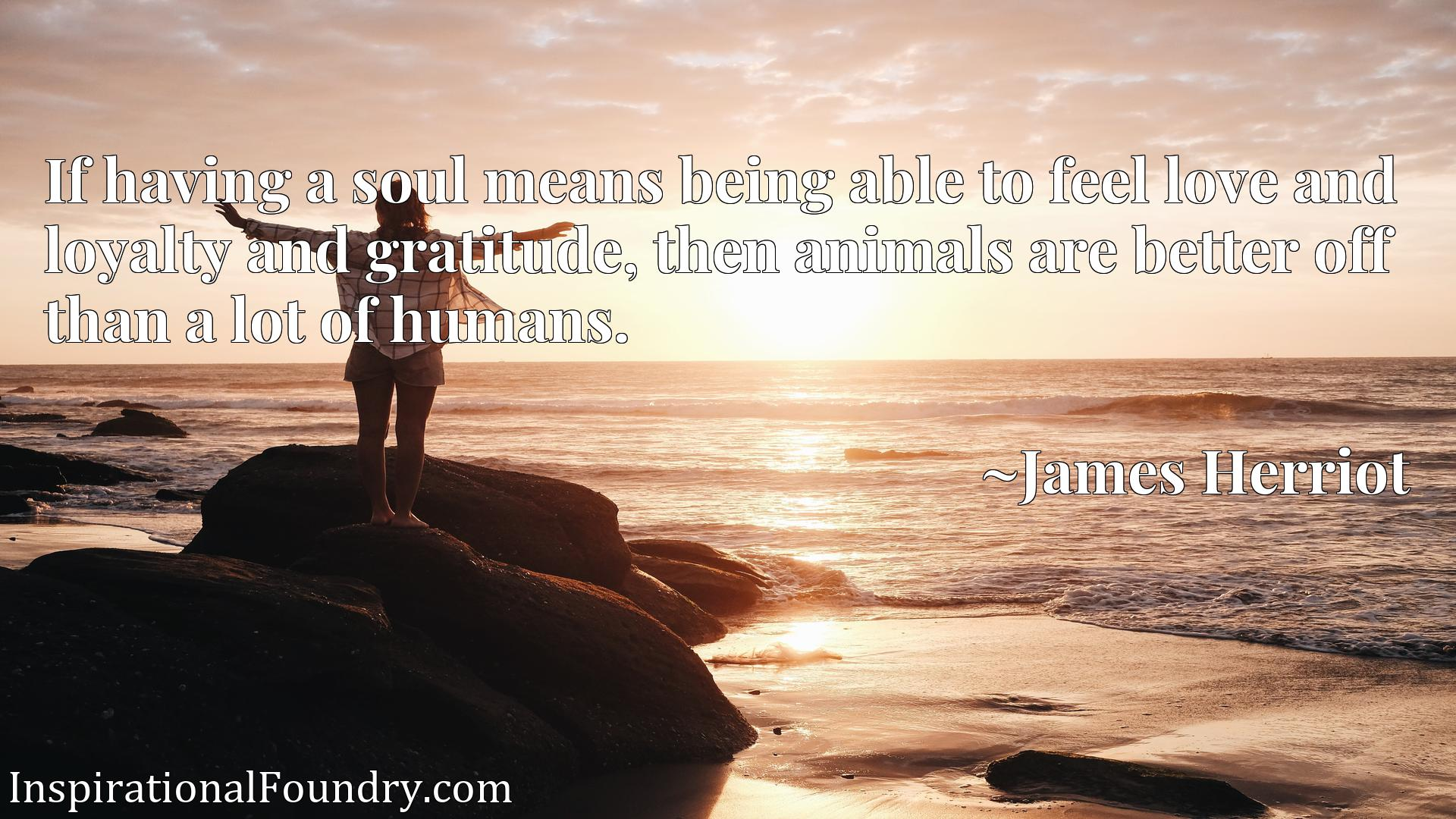 Quote Picture :If having a soul means being able to feel love and loyalty and gratitude, then animals are better off than a lot of humans.
