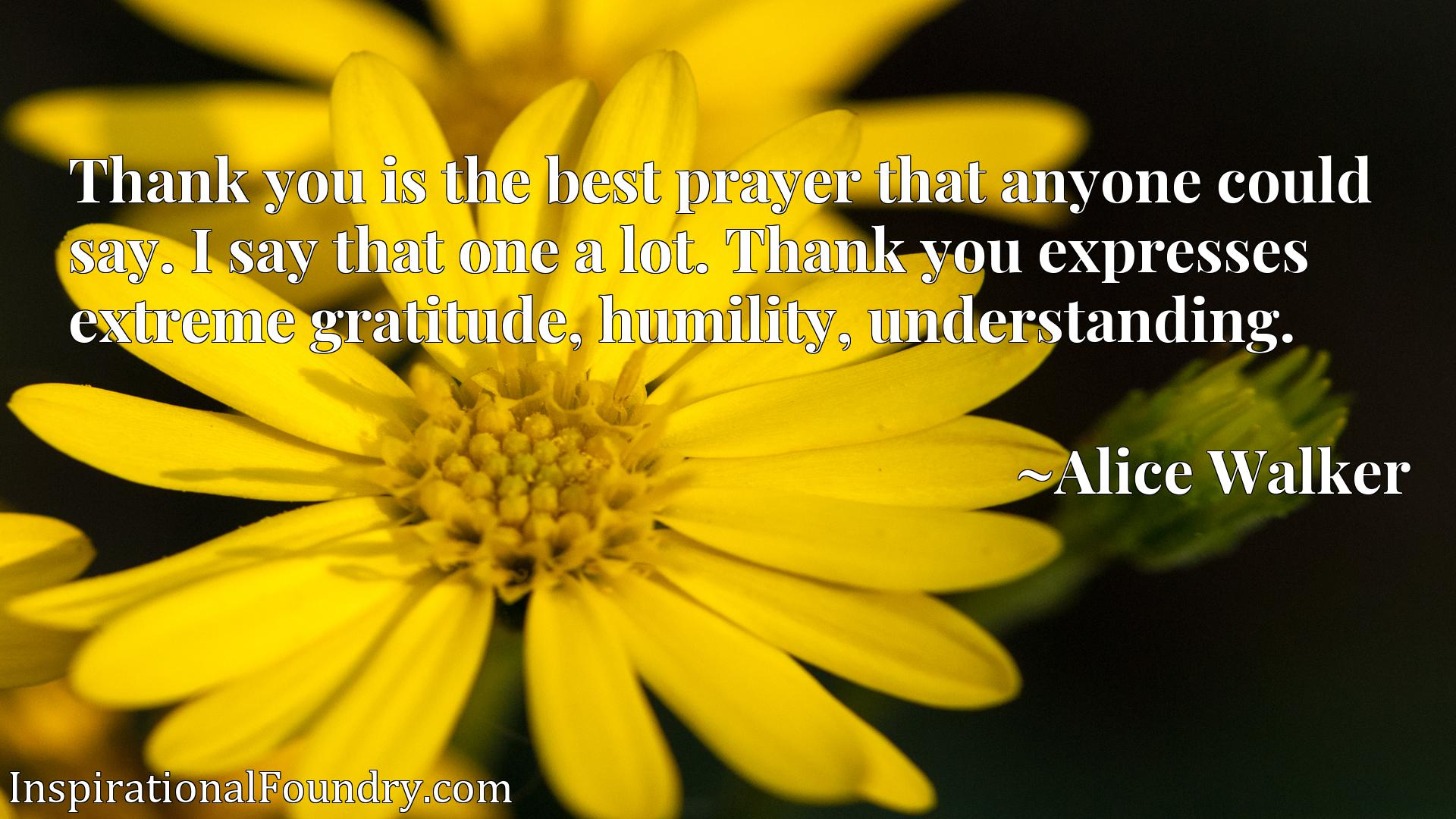 Thank you is the best prayer that anyone could say. I say that one a lot. Thank you expresses extreme gratitude, humility, understanding.