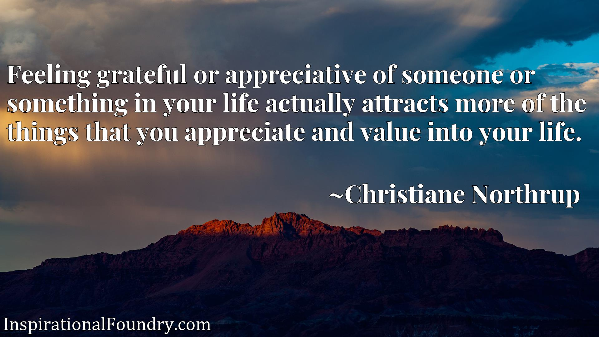 Quote Picture :Feeling grateful or appreciative of someone or something in your life actually attracts more of the things that you appreciate and value into your life.