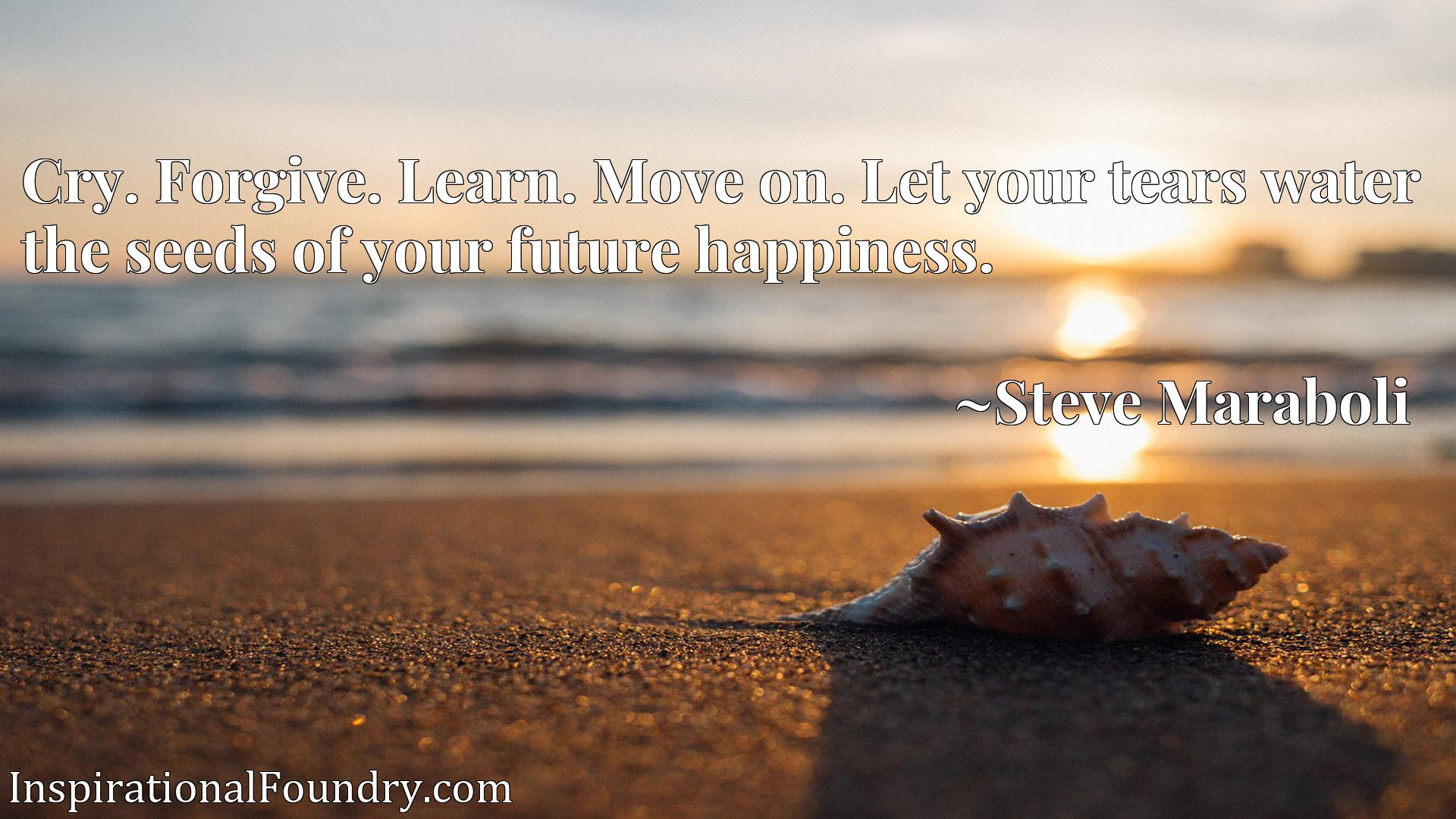 Quote Picture :Cry. Forgive. Learn. Move on. Let your tears water the seeds of your future happiness.