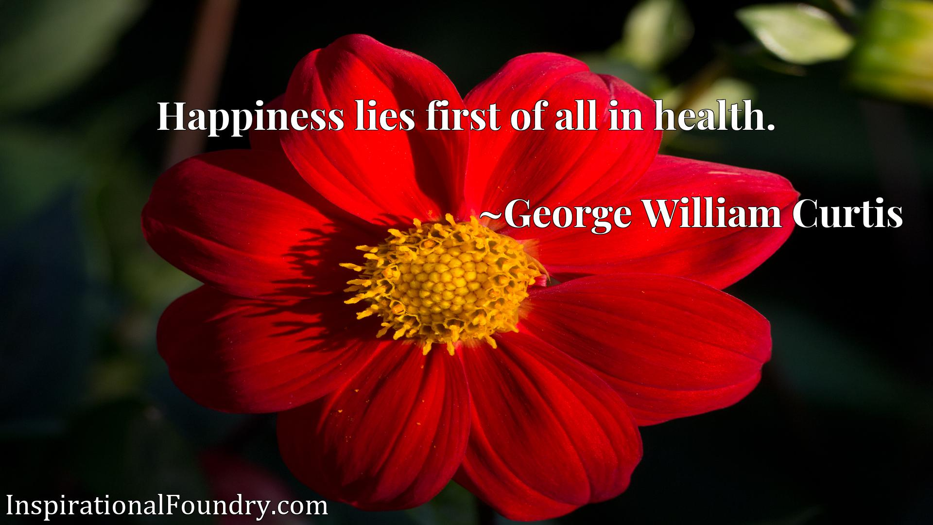 Happiness lies first of all in health.