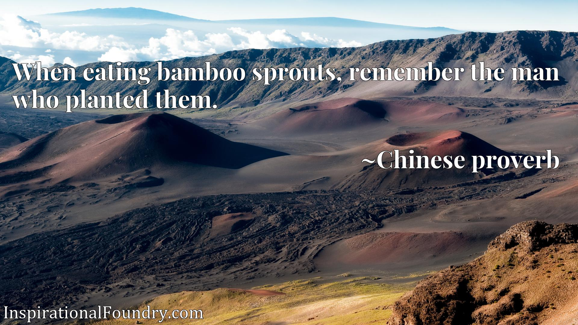 When eating bamboo sprouts, remember the man who planted them.