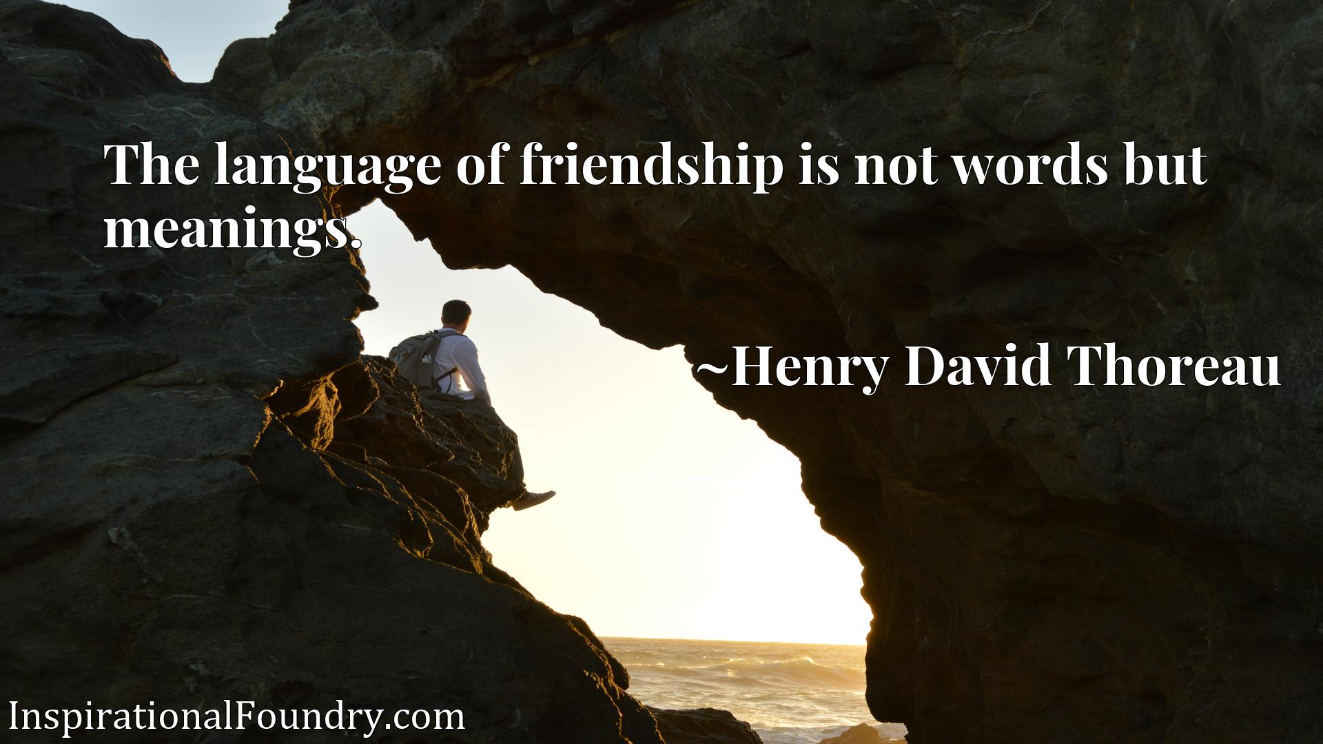 Quote Picture :The language of friendship is not words but meanings.