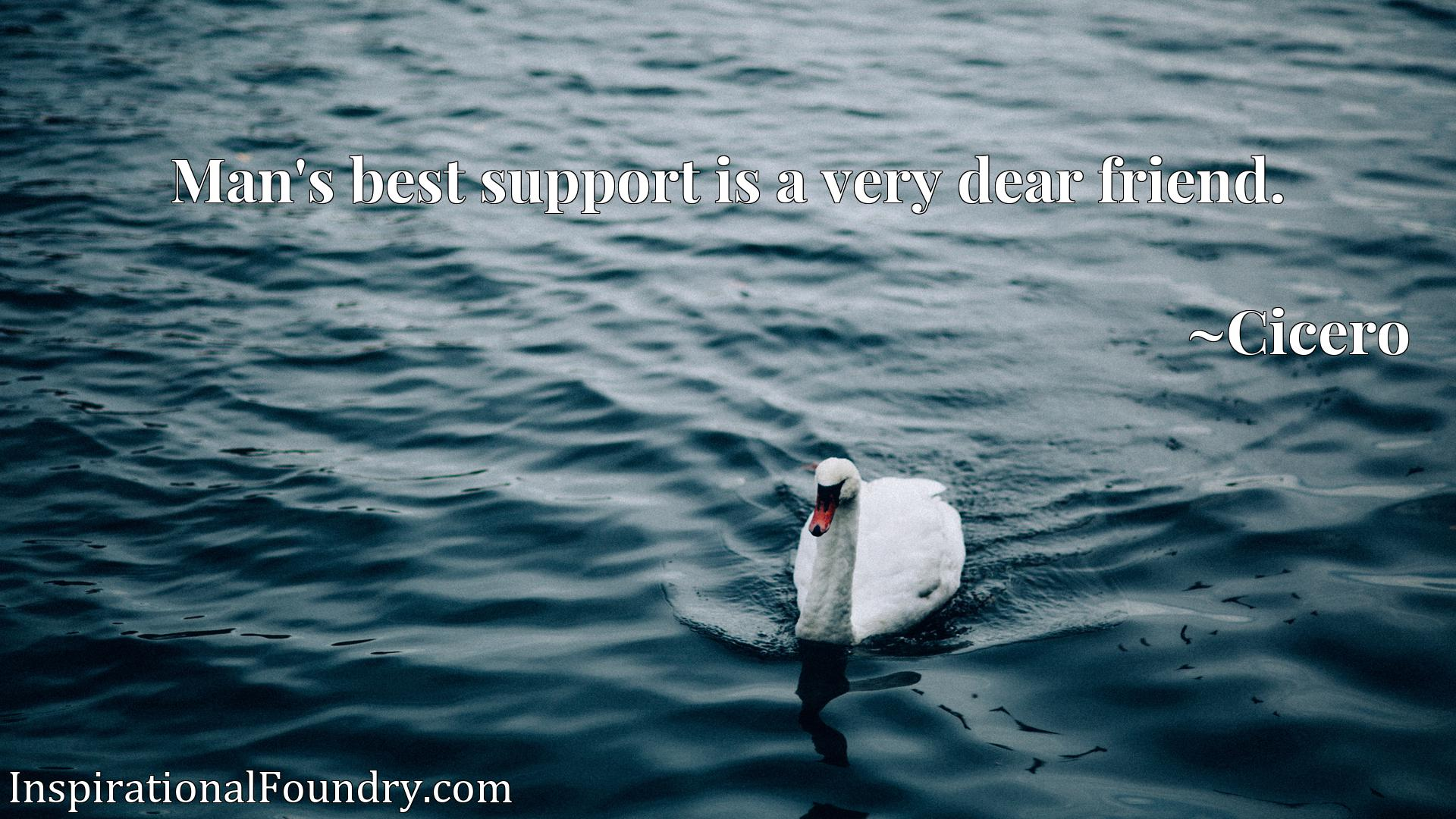 Quote Picture :Man's best support is a very dear friend.