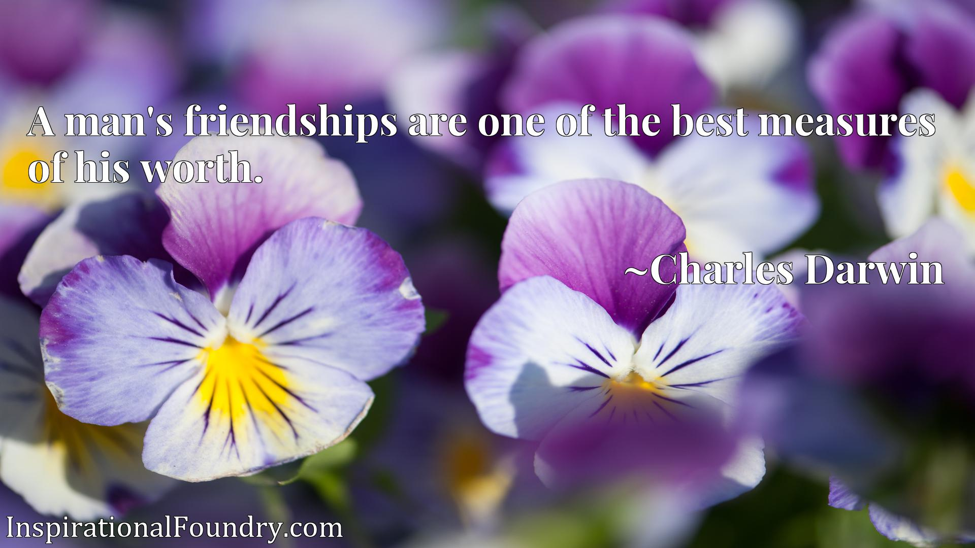 A man's friendships are one of the best measures of his worth.