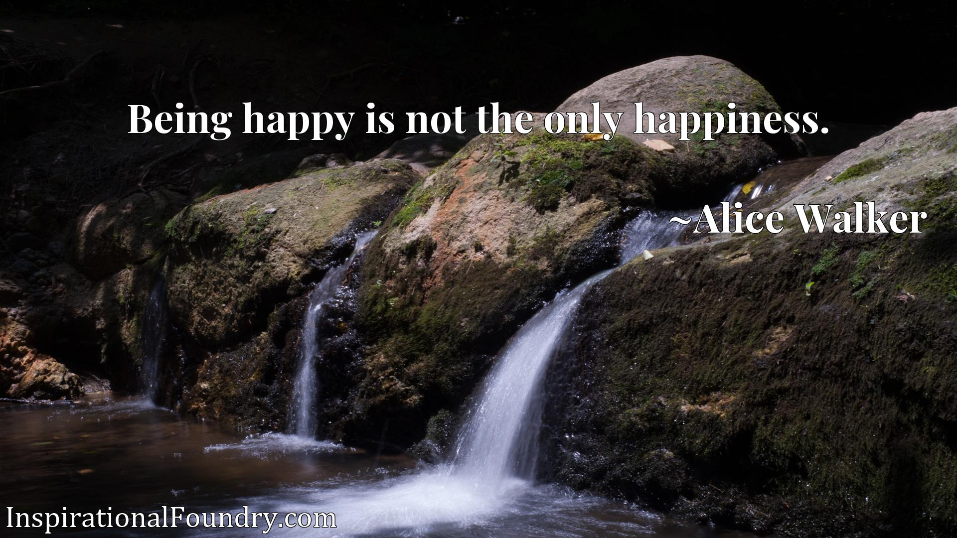 Quote Picture :Being happy is not the only happiness.